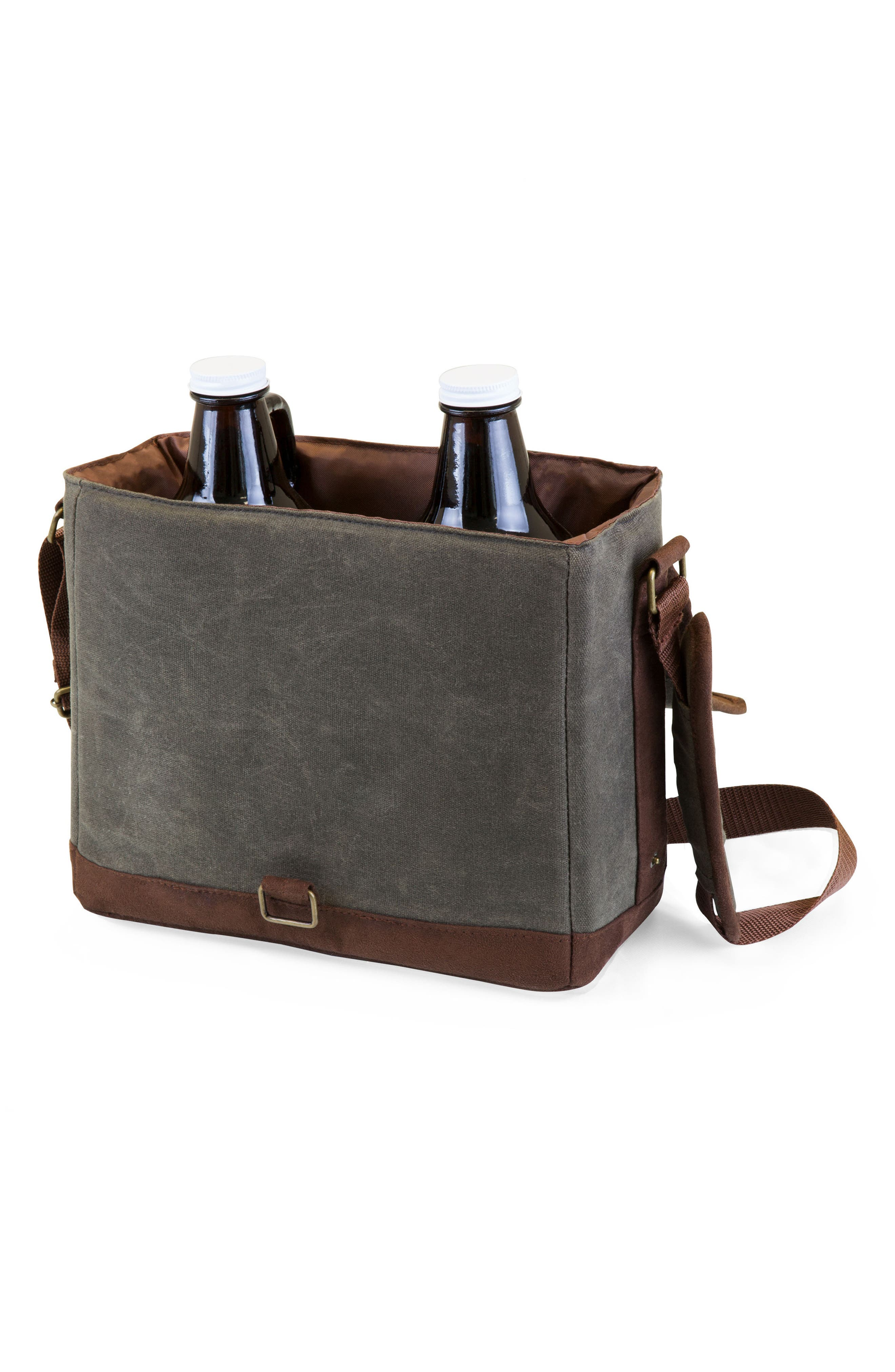 Insulated Double Growler Tote,                             Alternate thumbnail 2, color,                             Green/ Brown