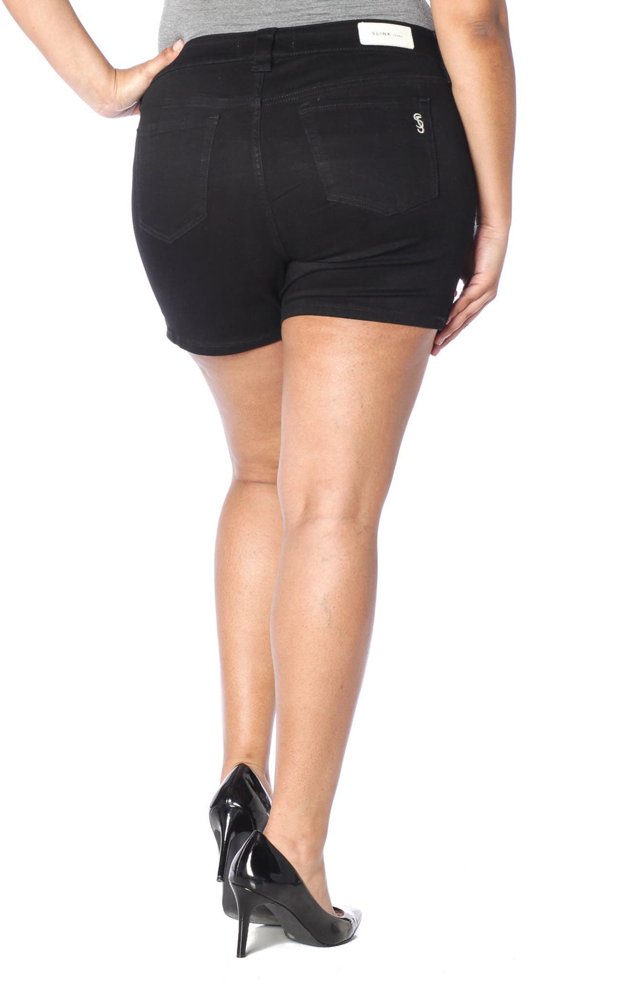 Alternate Image 3  - SLINK Jeans Stretch Twill Shorts (Plus Size)