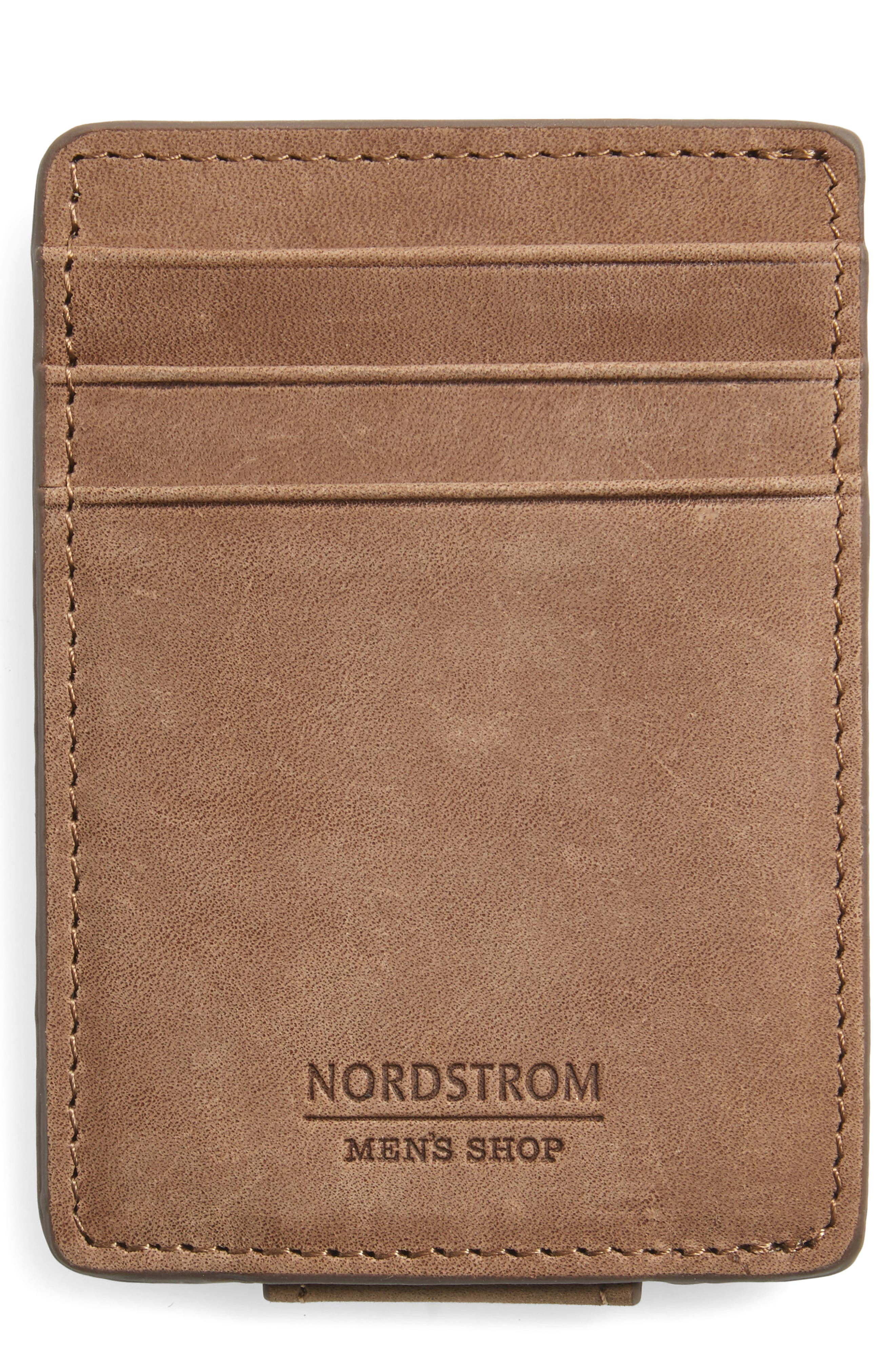 Upton Leather Money Clip Card Case,                             Main thumbnail 1, color,                             Brown Earth