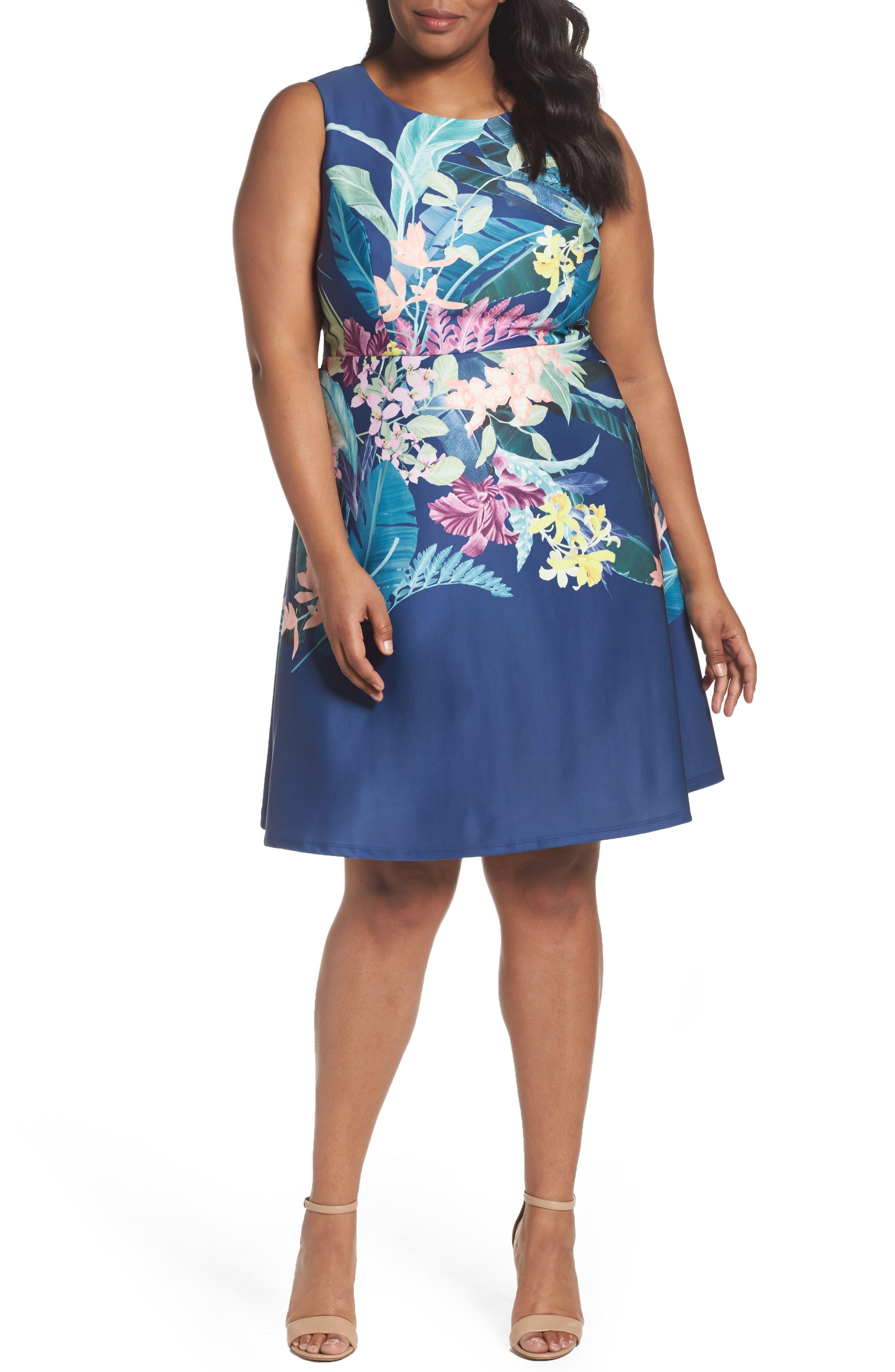 Scuba Fit & Flare Dress,                         Main,                         color, Navy Multi