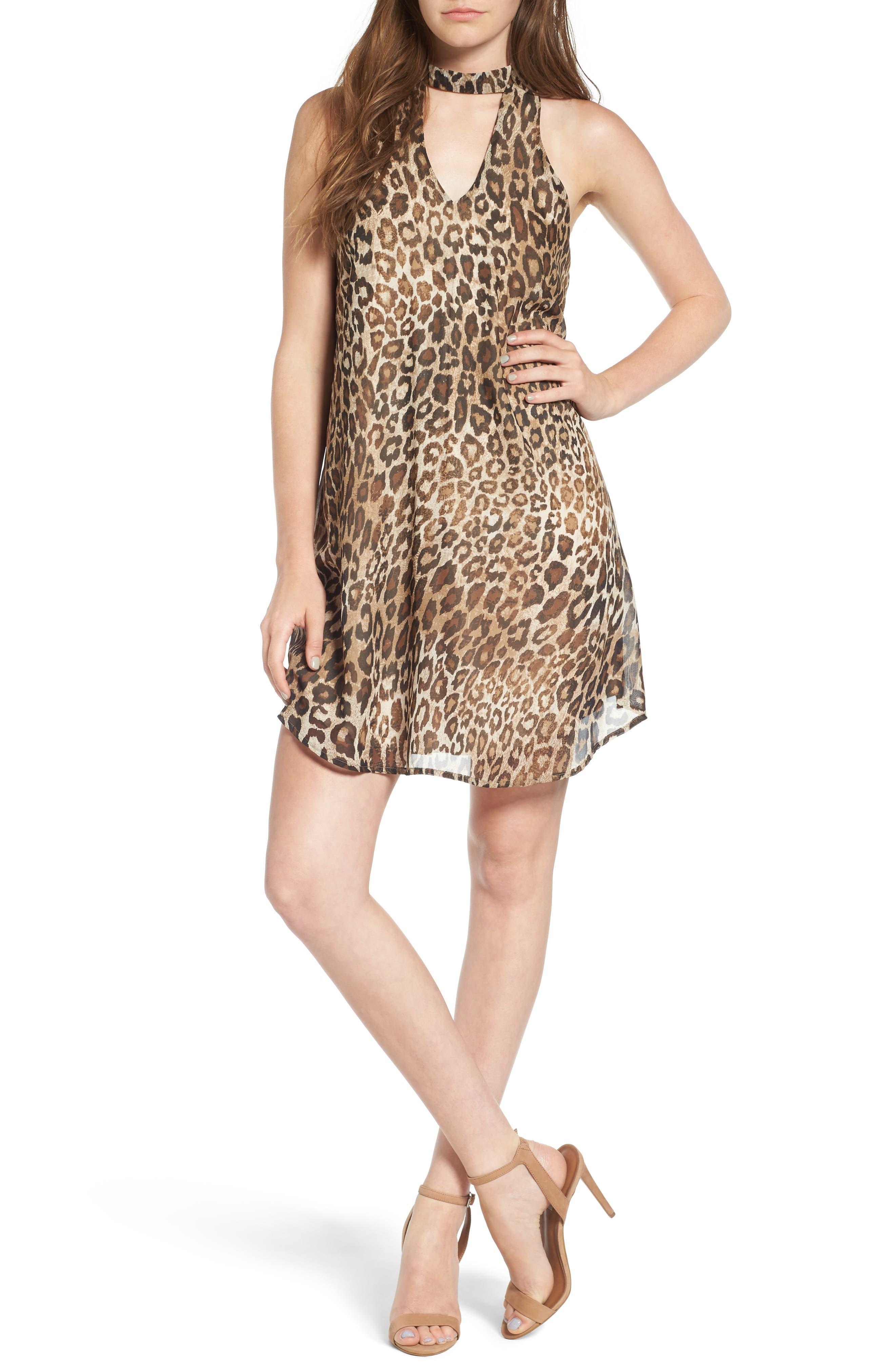 Speechless Leopard Print Cutout Dress