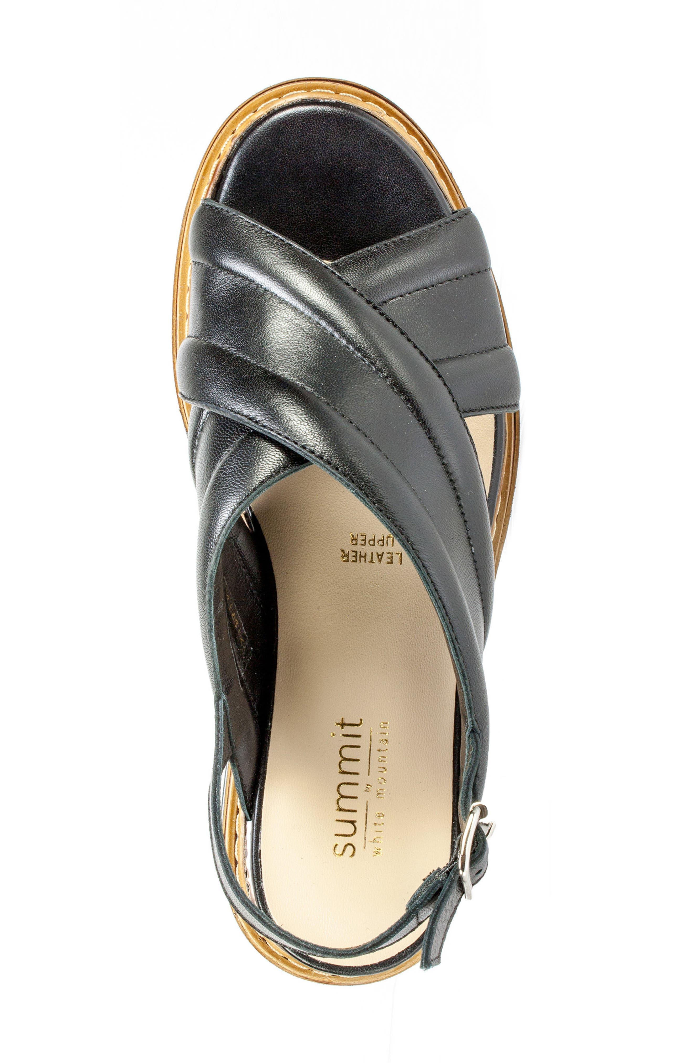 Leanna Platform Sandal,                             Alternate thumbnail 3, color,                             Black Leather