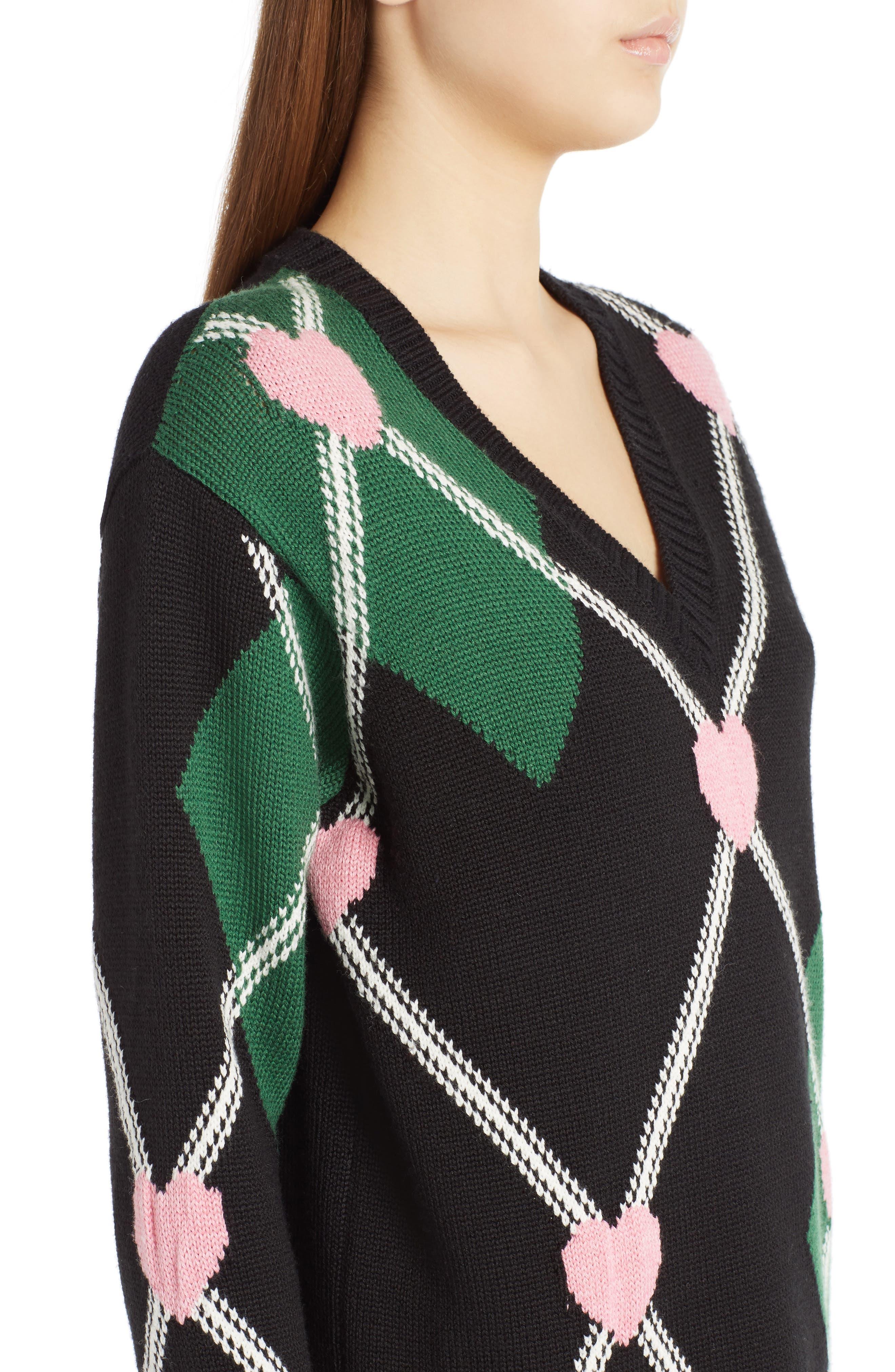 Argyle Heart Sweater,                             Alternate thumbnail 5, color,                             Black