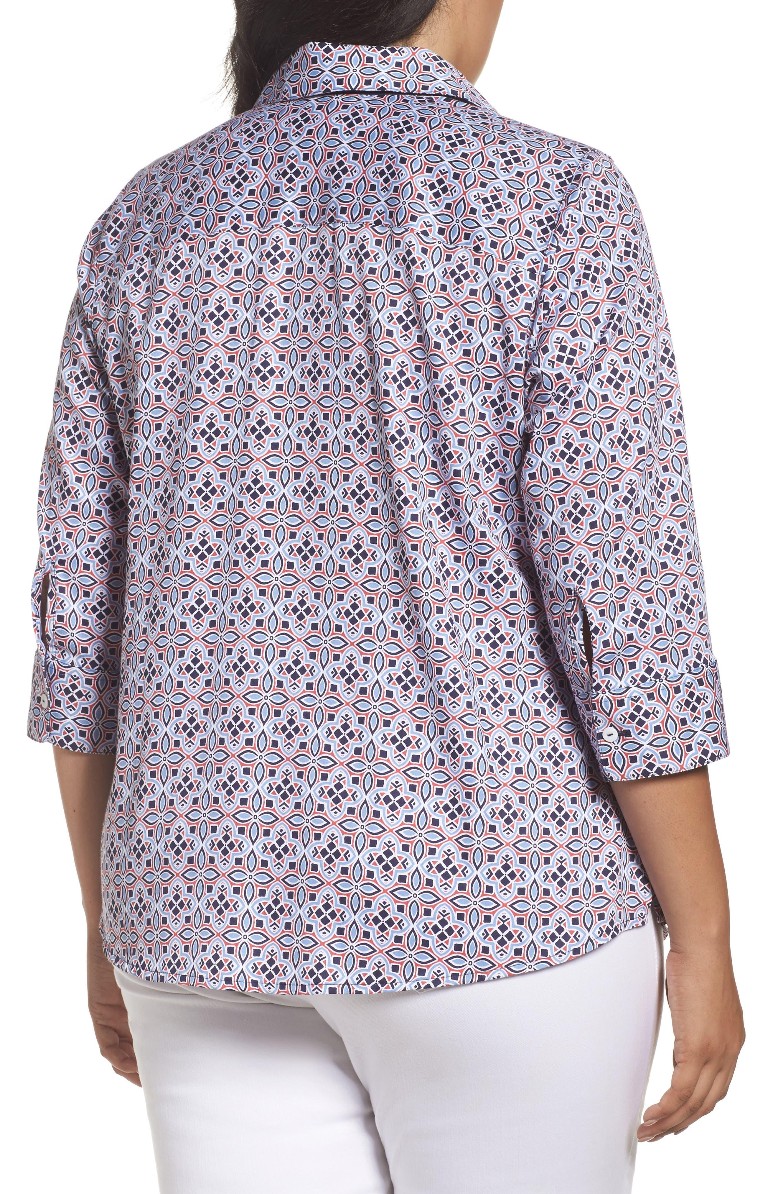 Alternate Image 2  - Foxcroft Ava Non-Iron Tile Print Cotton Shirt (Plus Size)