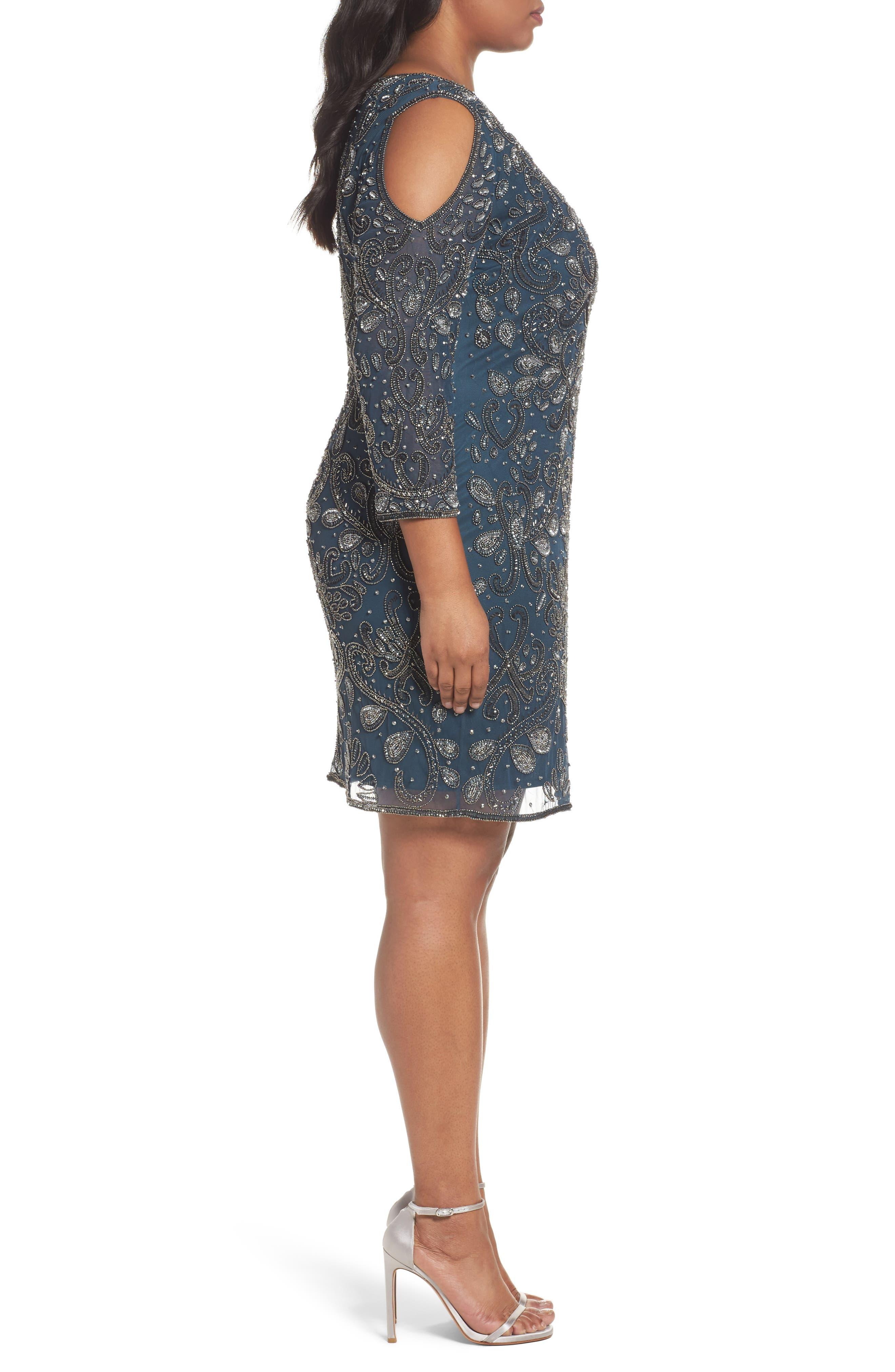 Alternate Image 3  - Pisarro Nights Embellished Cold Shoulder Dress (Plus Size)