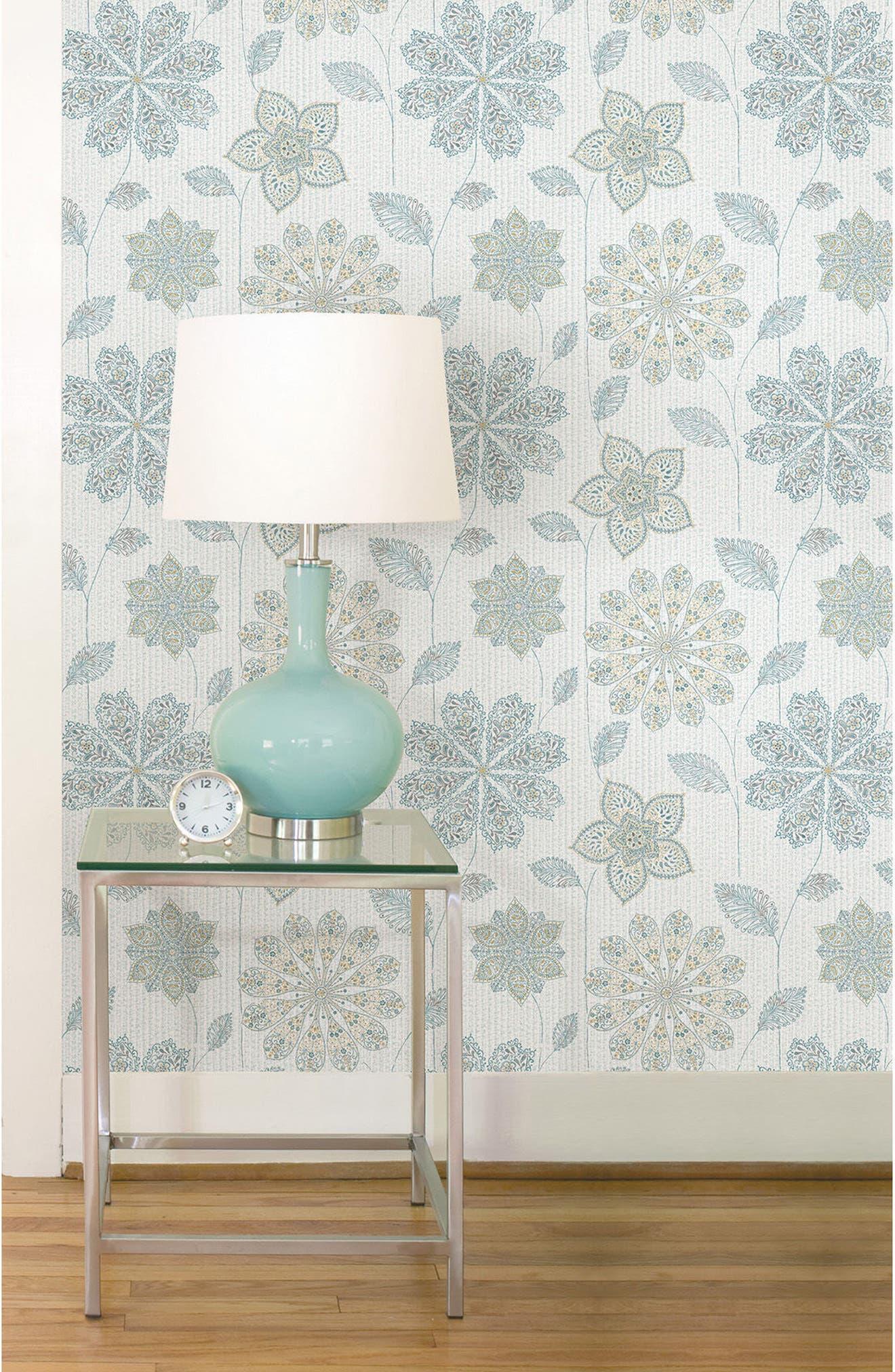 Floral Peel & Stick Vinyl Wallpaper,                             Alternate thumbnail 2, color,                             Blue