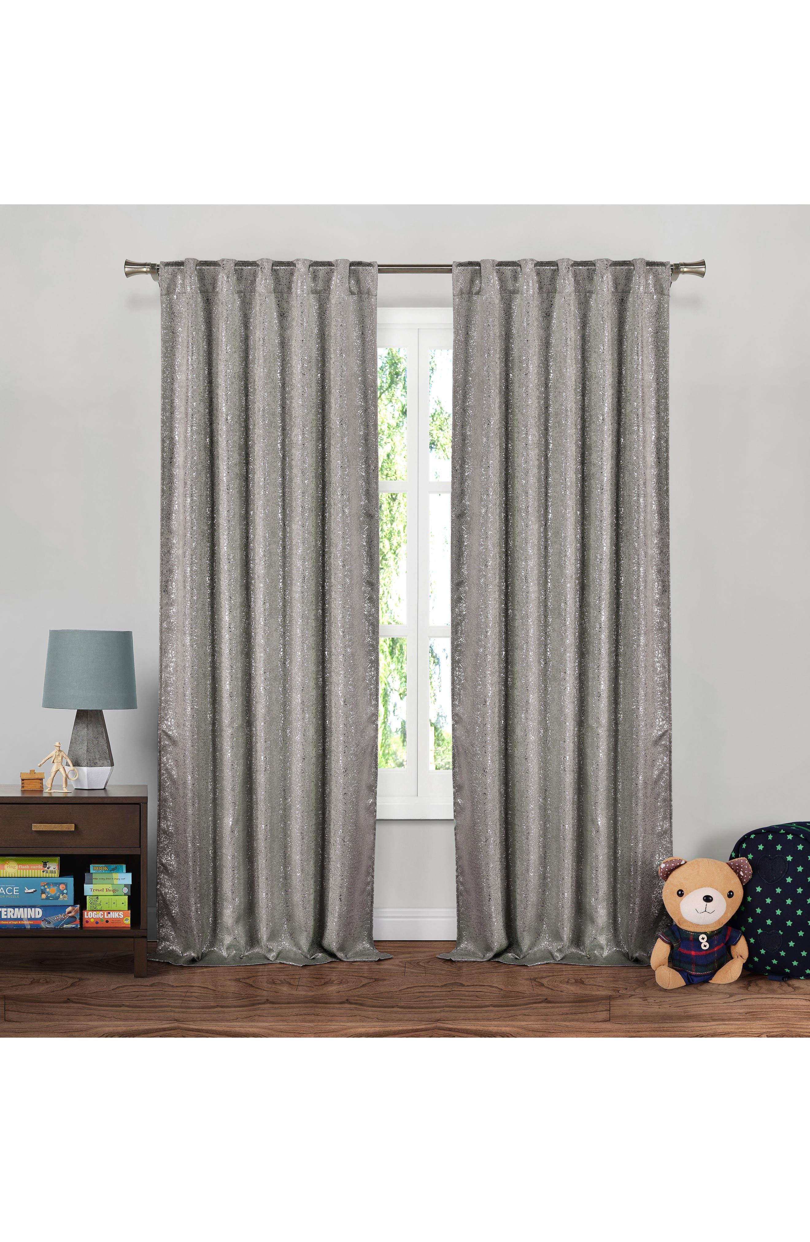 Maddie Metallic Blackout Window Panels,                         Main,                         color, Grey