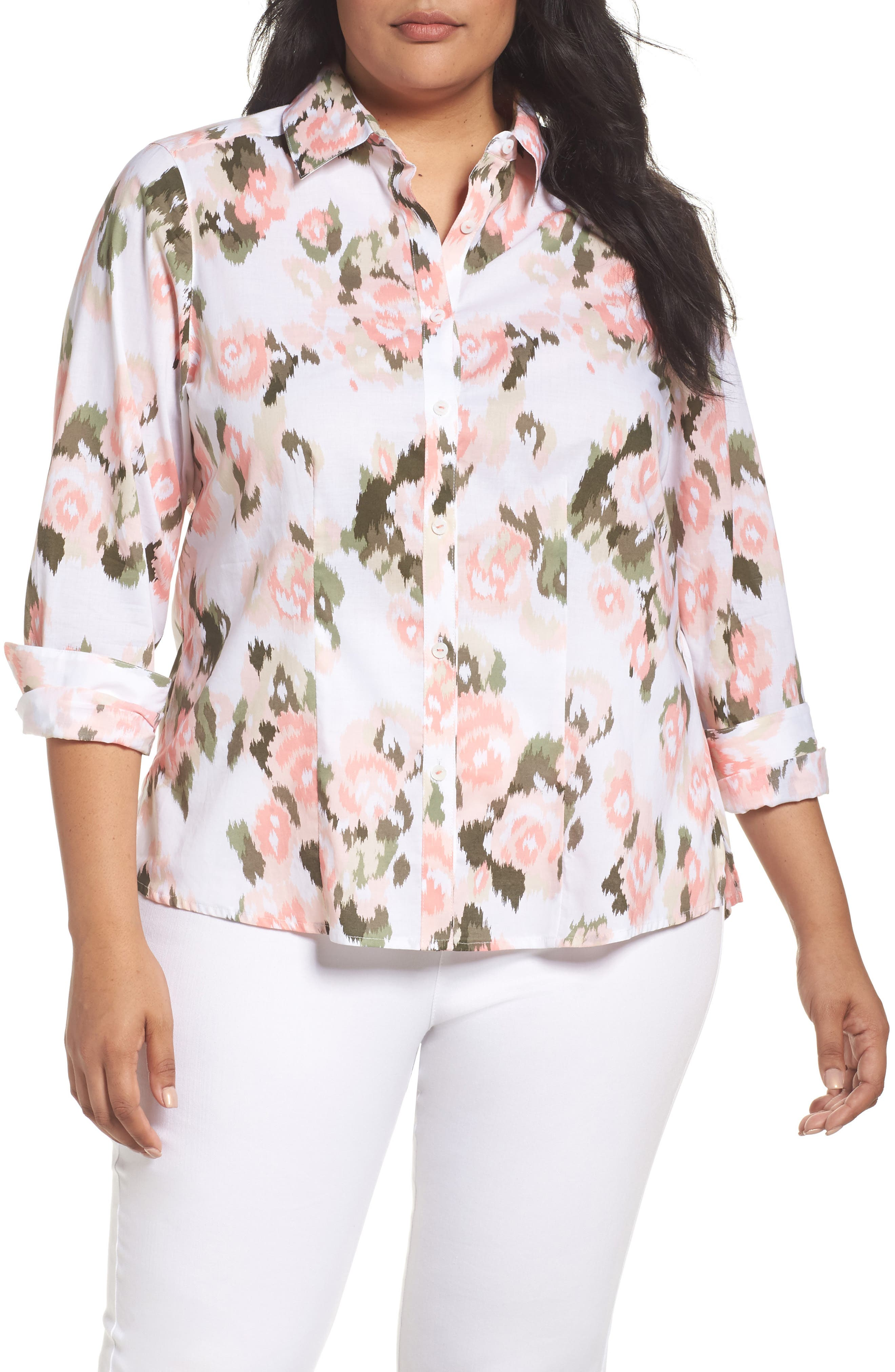 Foxcroft Brooke Floral Ikat Button Up Tunic (Plus Size)
