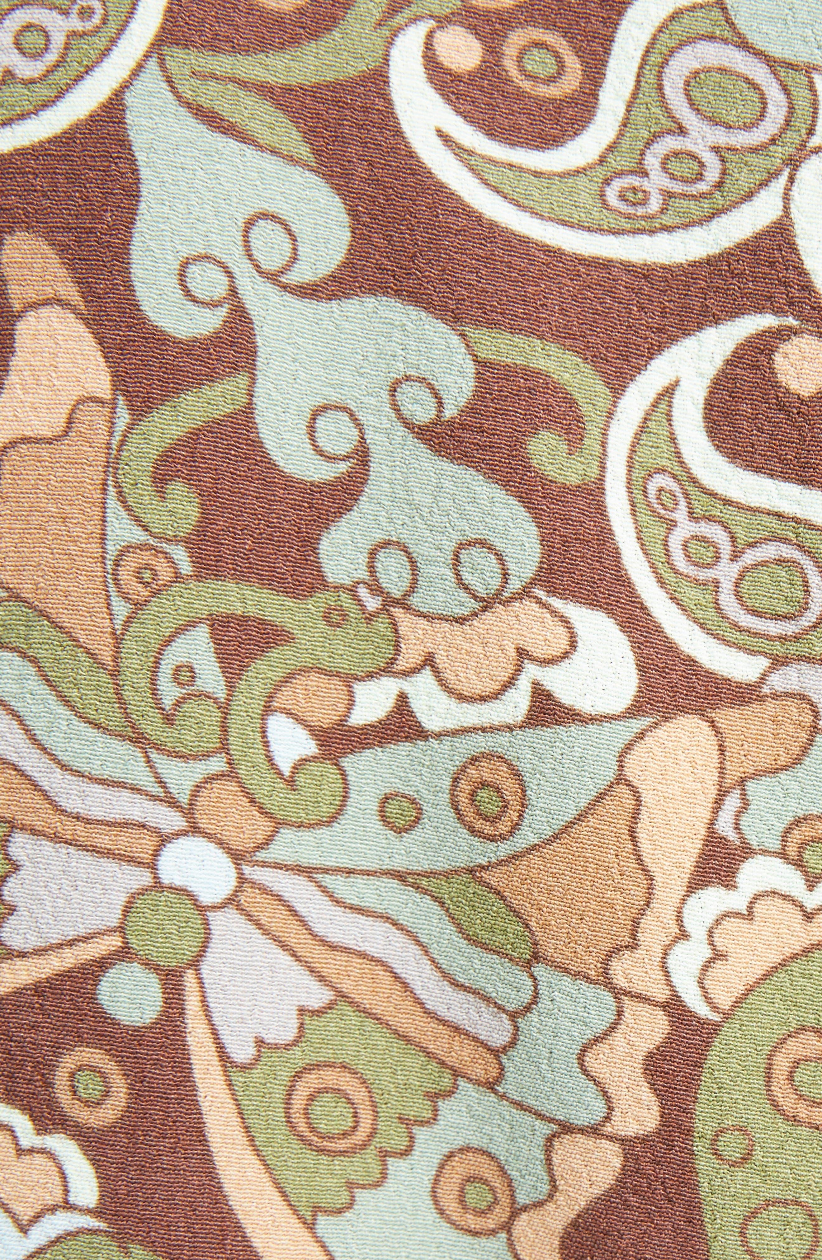 Butterfly Garden Print Crêpe de Chine Dress,                             Alternate thumbnail 5, color,                             Multicolor Brown