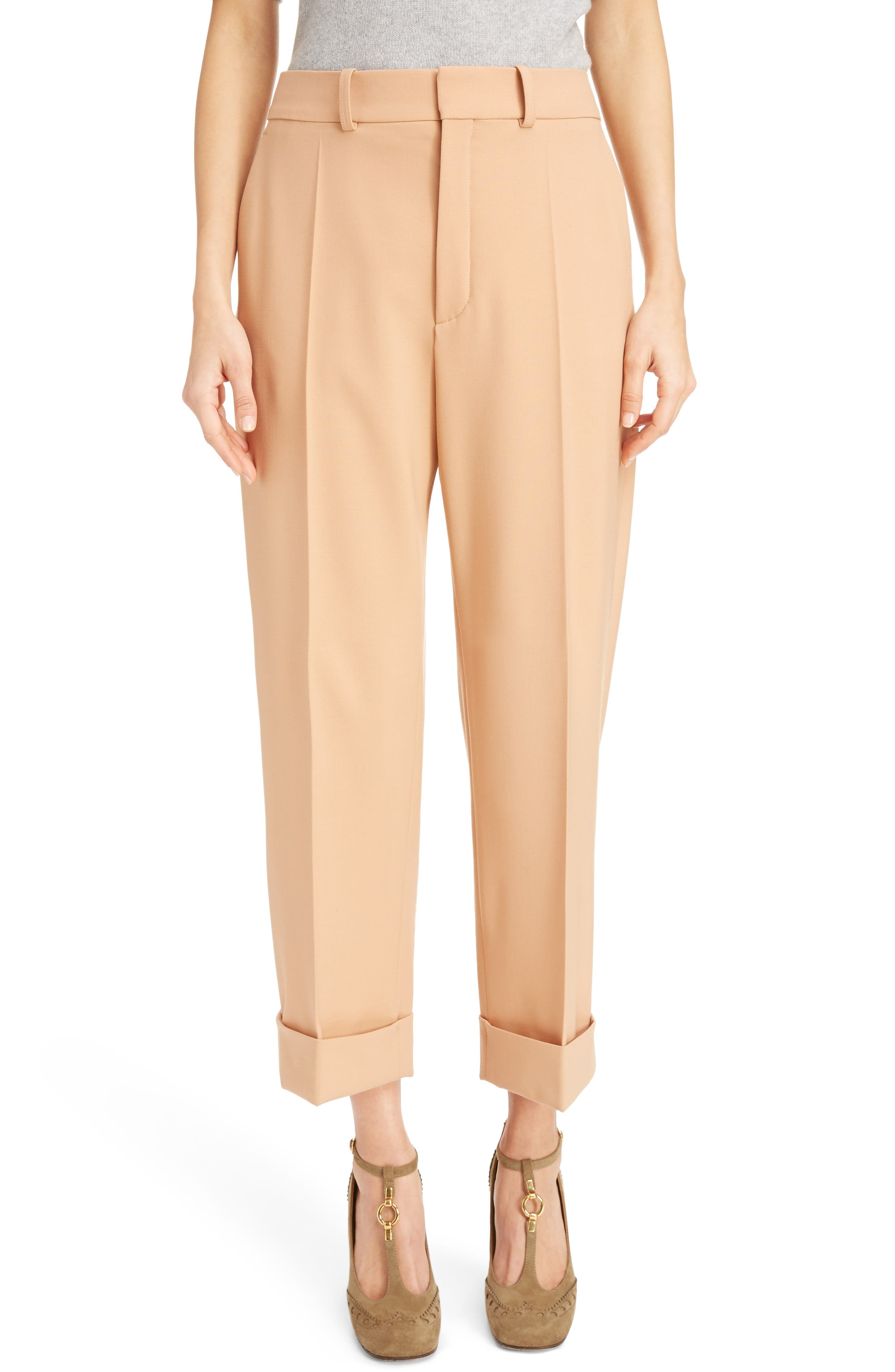Chloé Cuffed Stretch Wool Pants