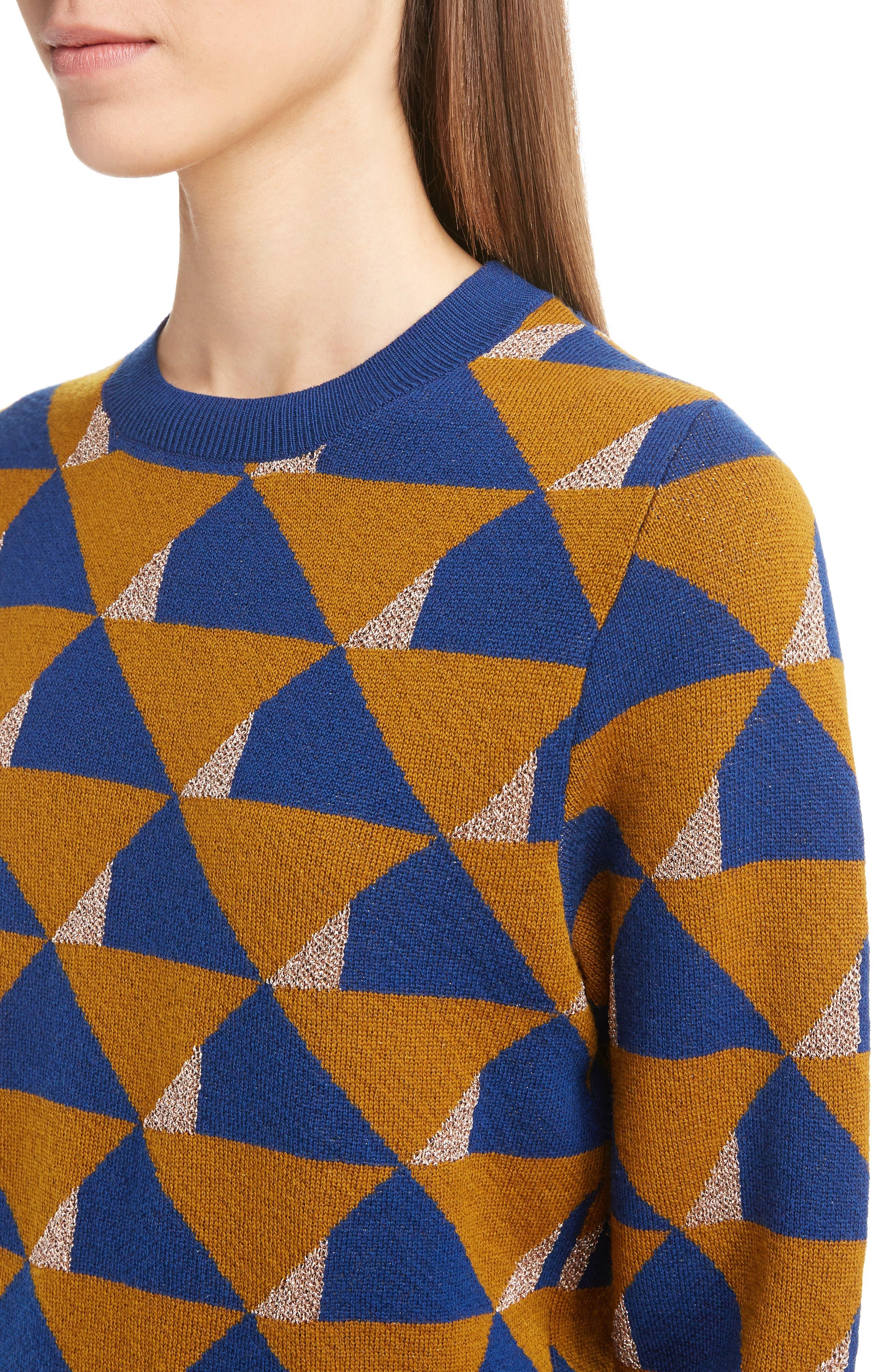 Graphic Knit Merino Wool Sweater,                             Alternate thumbnail 5, color,                             Ocra