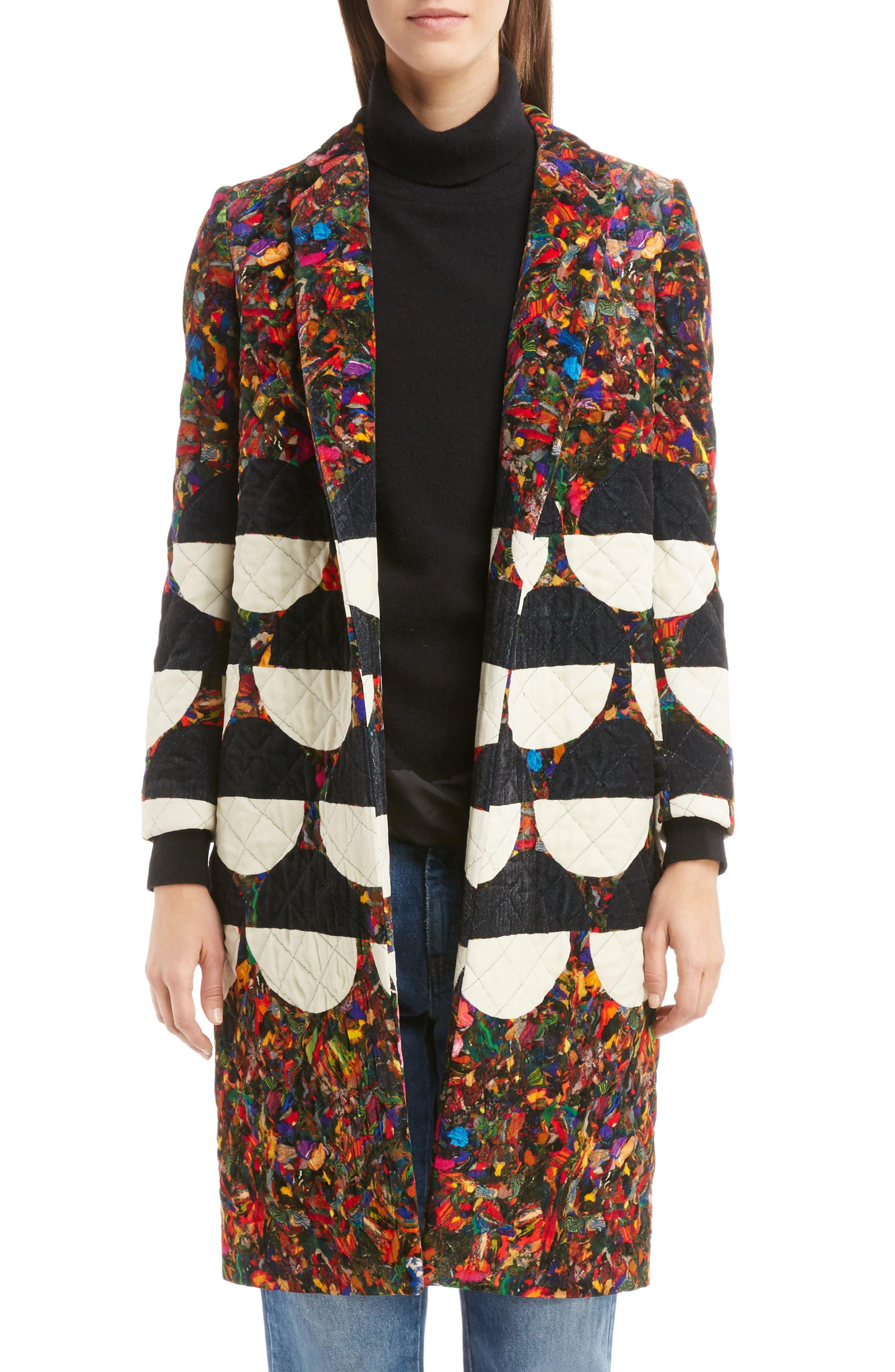 Mix Print Quilted Velvet Coat,                         Main,                         color, Desb