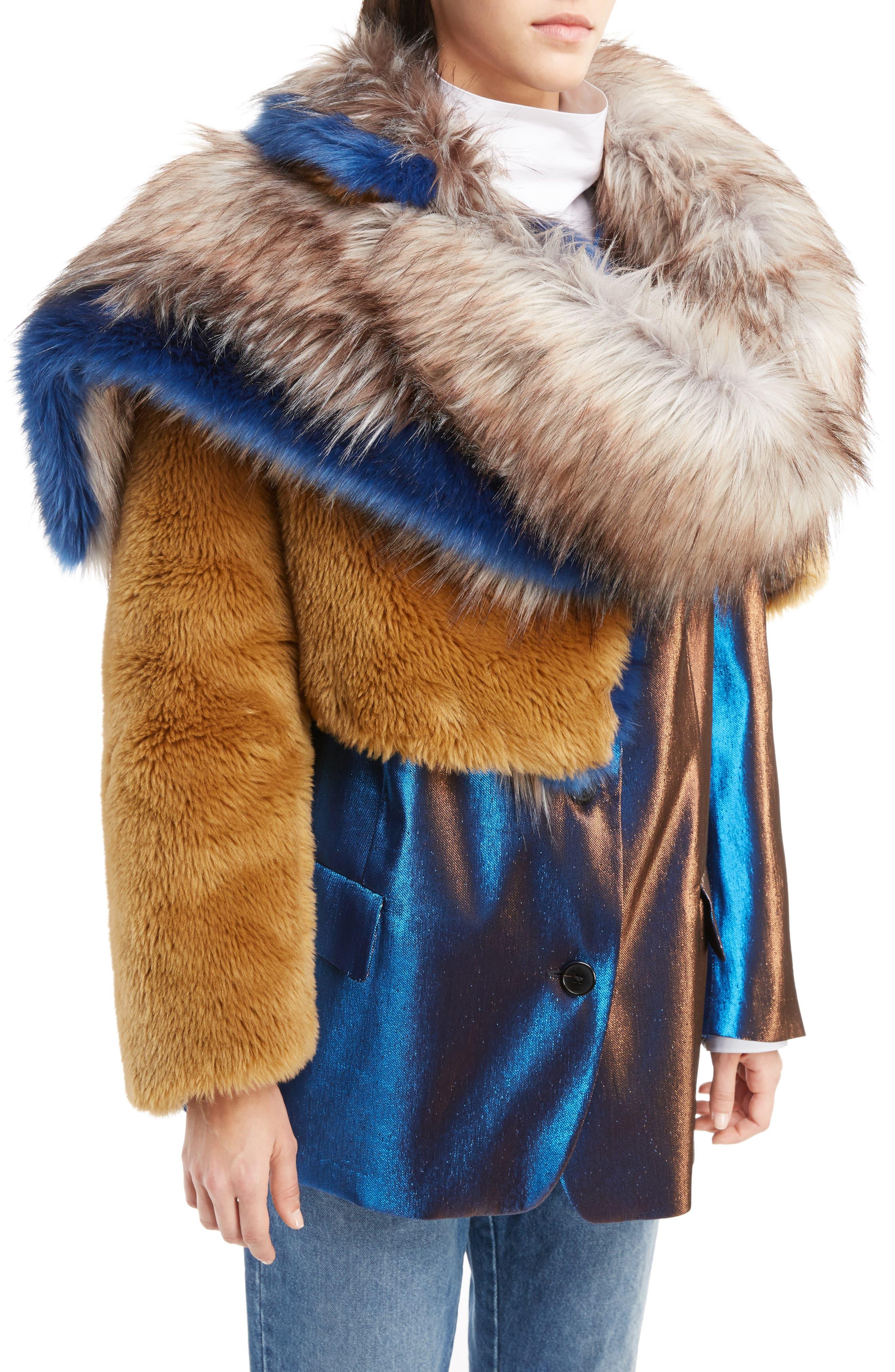 Faux Fur Asymmetrical Shrug,                             Alternate thumbnail 6, color,                             Camel