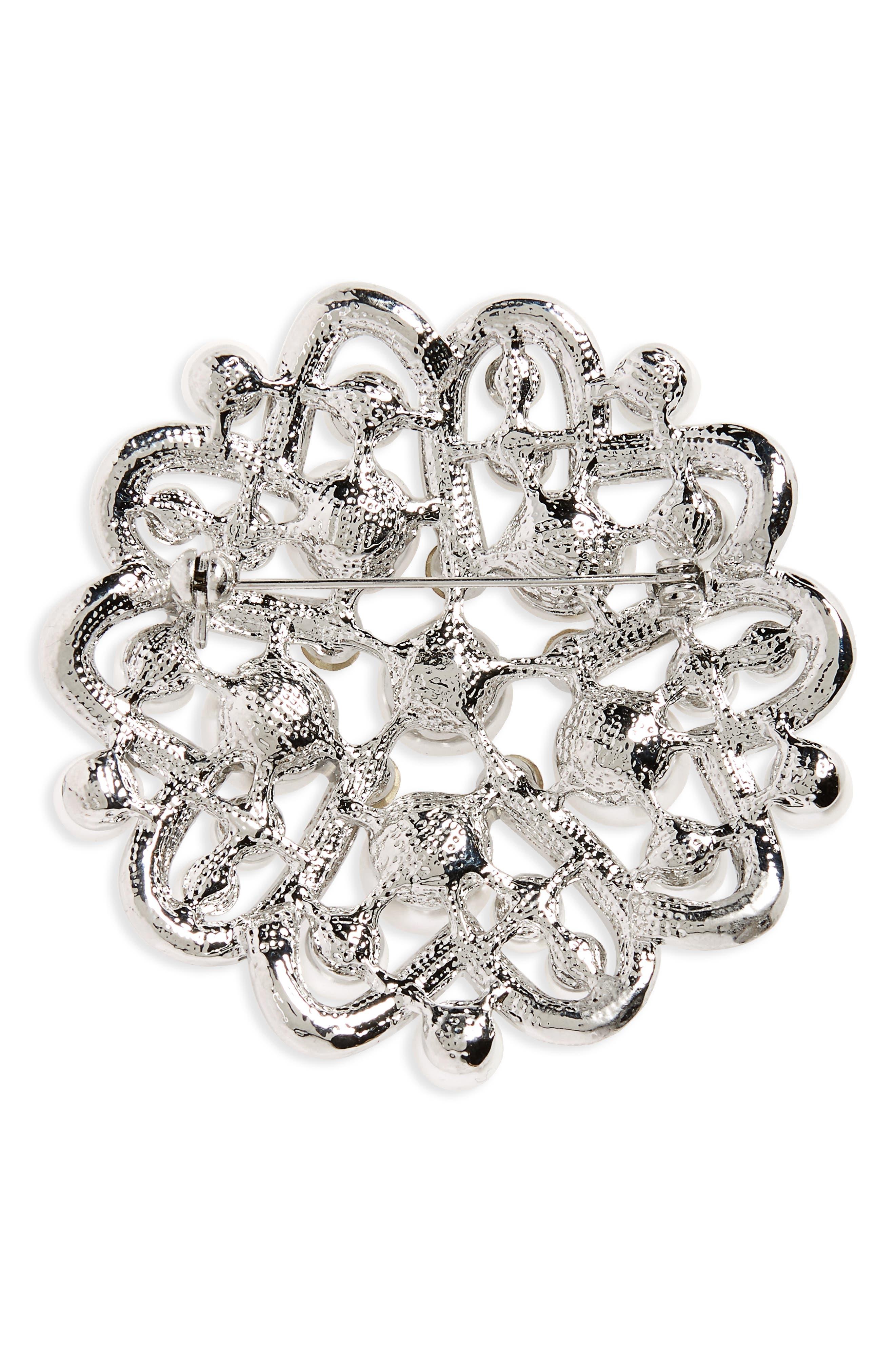 Imitation Pearl & Crystal Brooch,                             Alternate thumbnail 2, color,                             Ivory Pearl / Silver