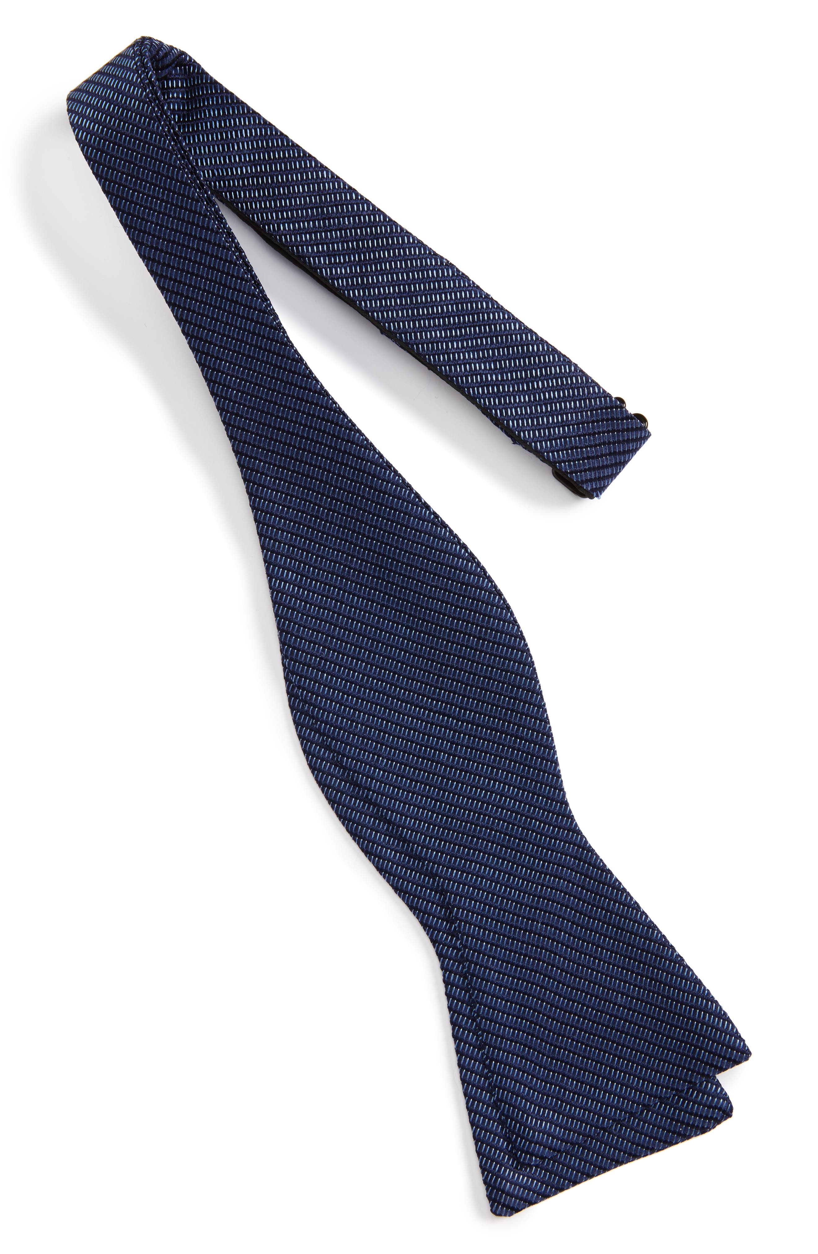 Stitch Stripe Silk Bow Tie,                             Alternate thumbnail 2, color,                             Navy