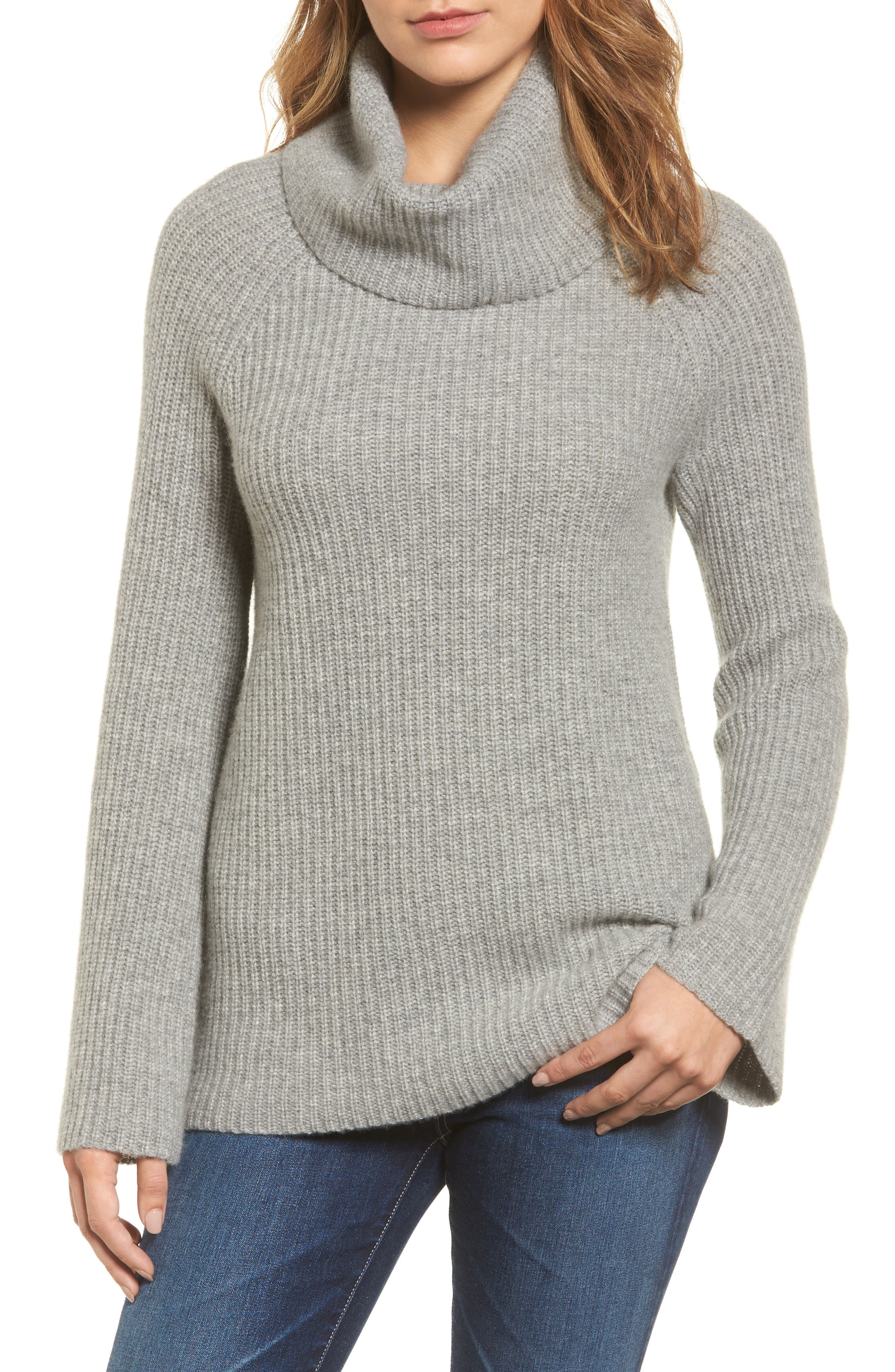 Halogen® Ribbed Cashmere Turtleneck Sweater (Regular & Petite)
