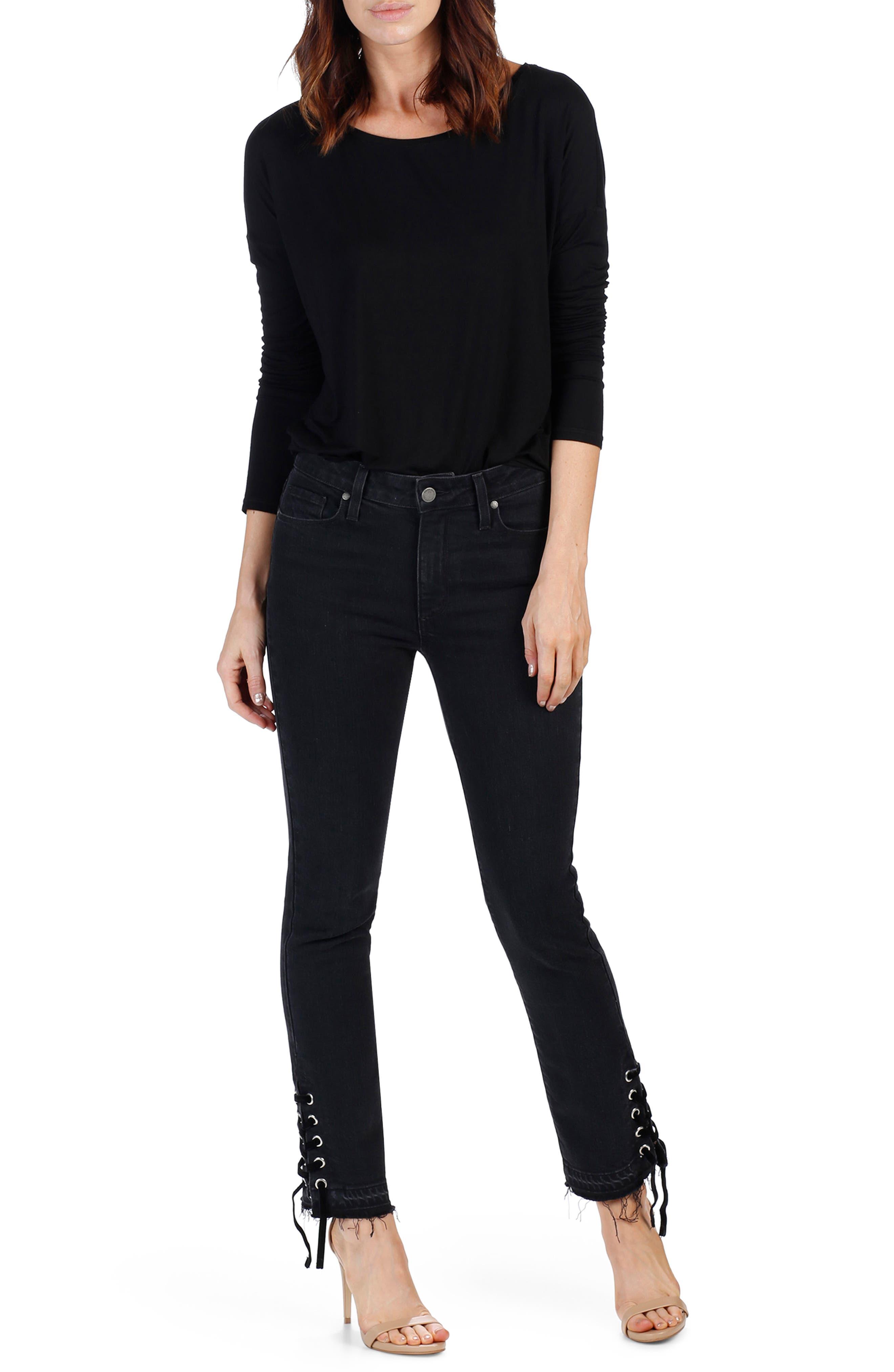 Jacqueline High Waist Straight Leg Jeans,                             Alternate thumbnail 2, color,                             Lacey Noir