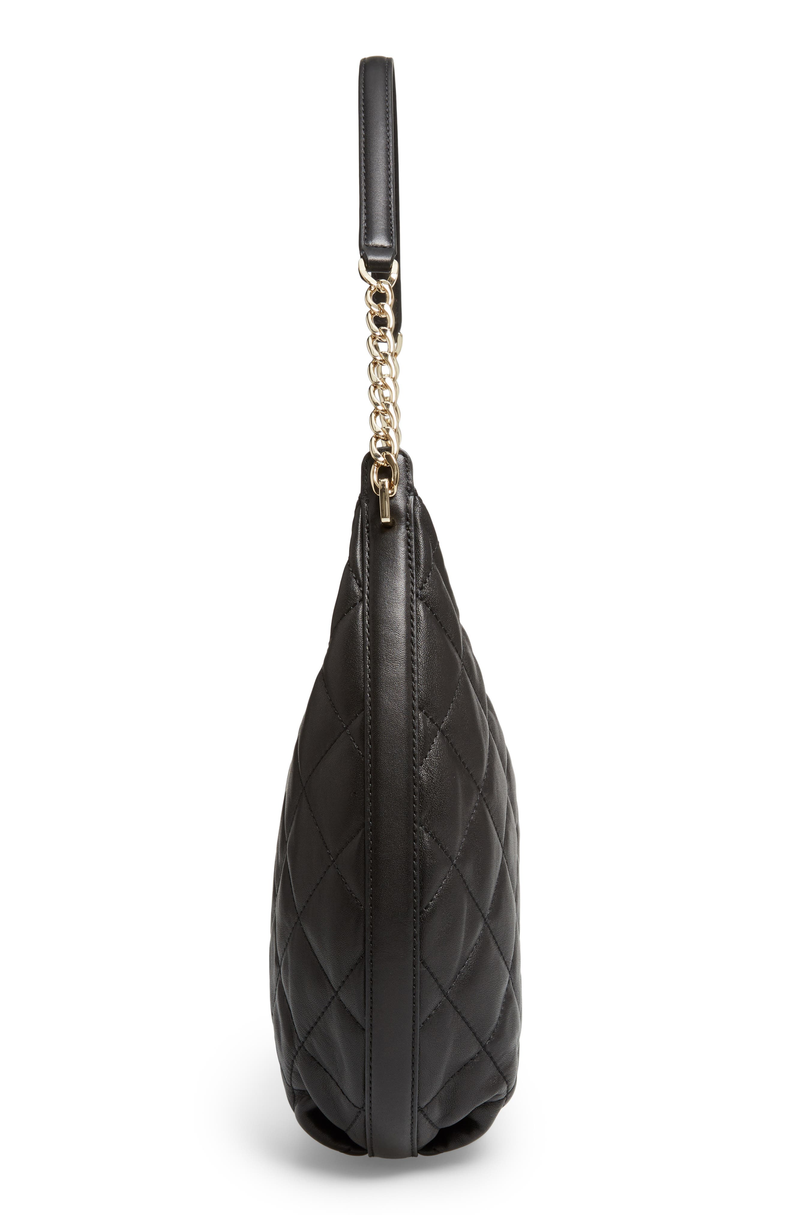 emerson place - tamsin leather hobo,                             Alternate thumbnail 5, color,                             Black