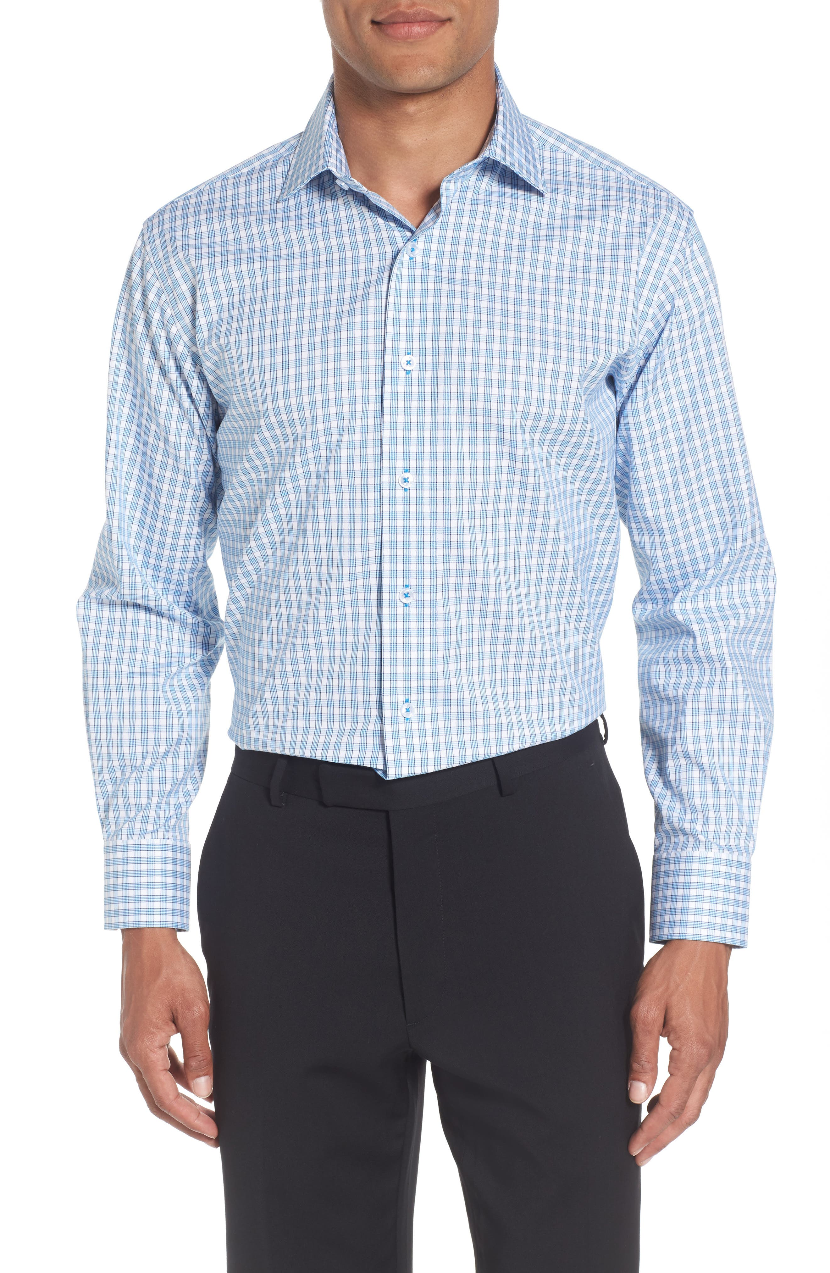 Trim Fit Plaid Dress Shirt,                         Main,                         color, Light Blue/ White