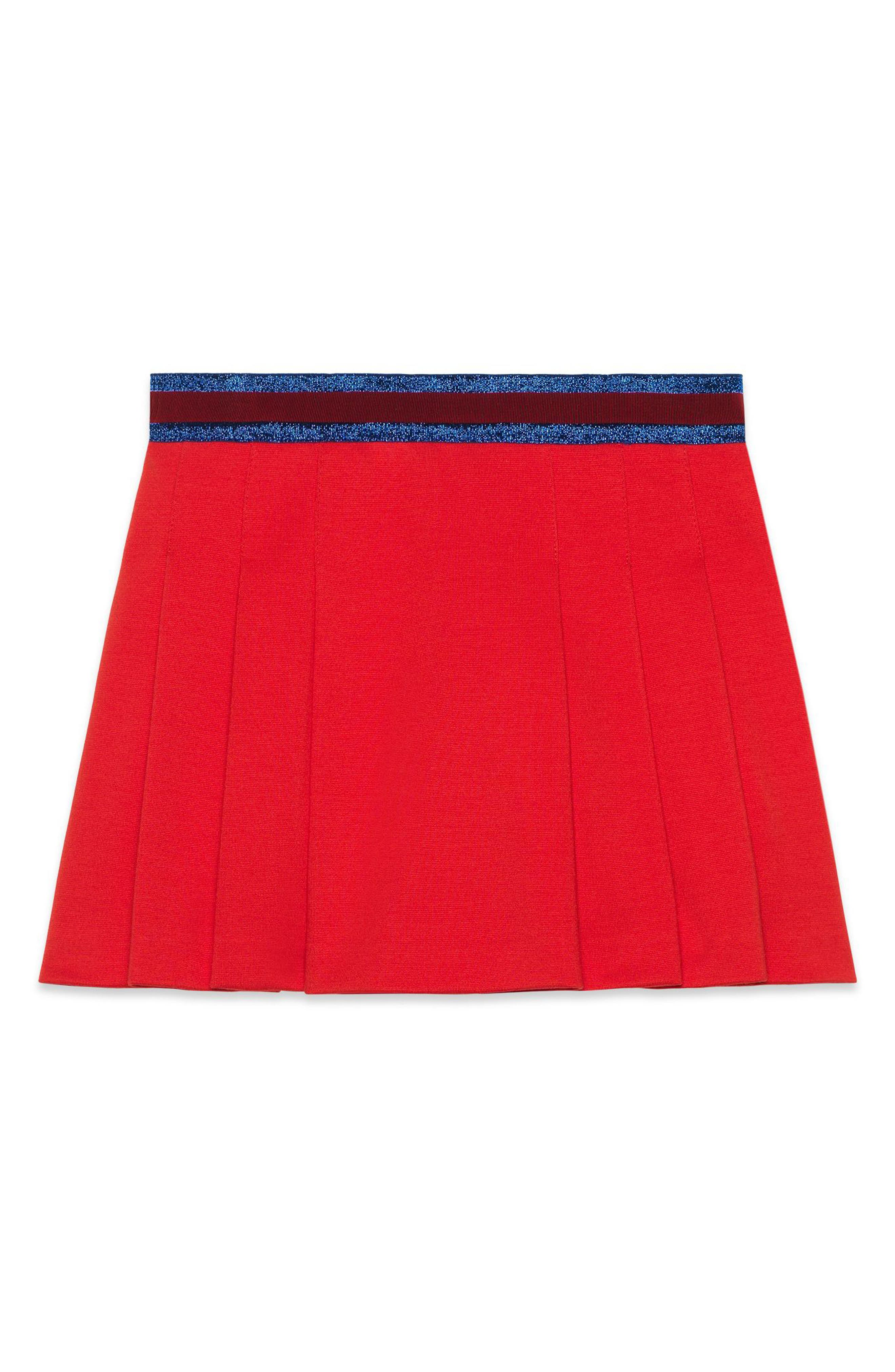 Pleated Jersey Skirt,                             Alternate thumbnail 2, color,                             Red Multi