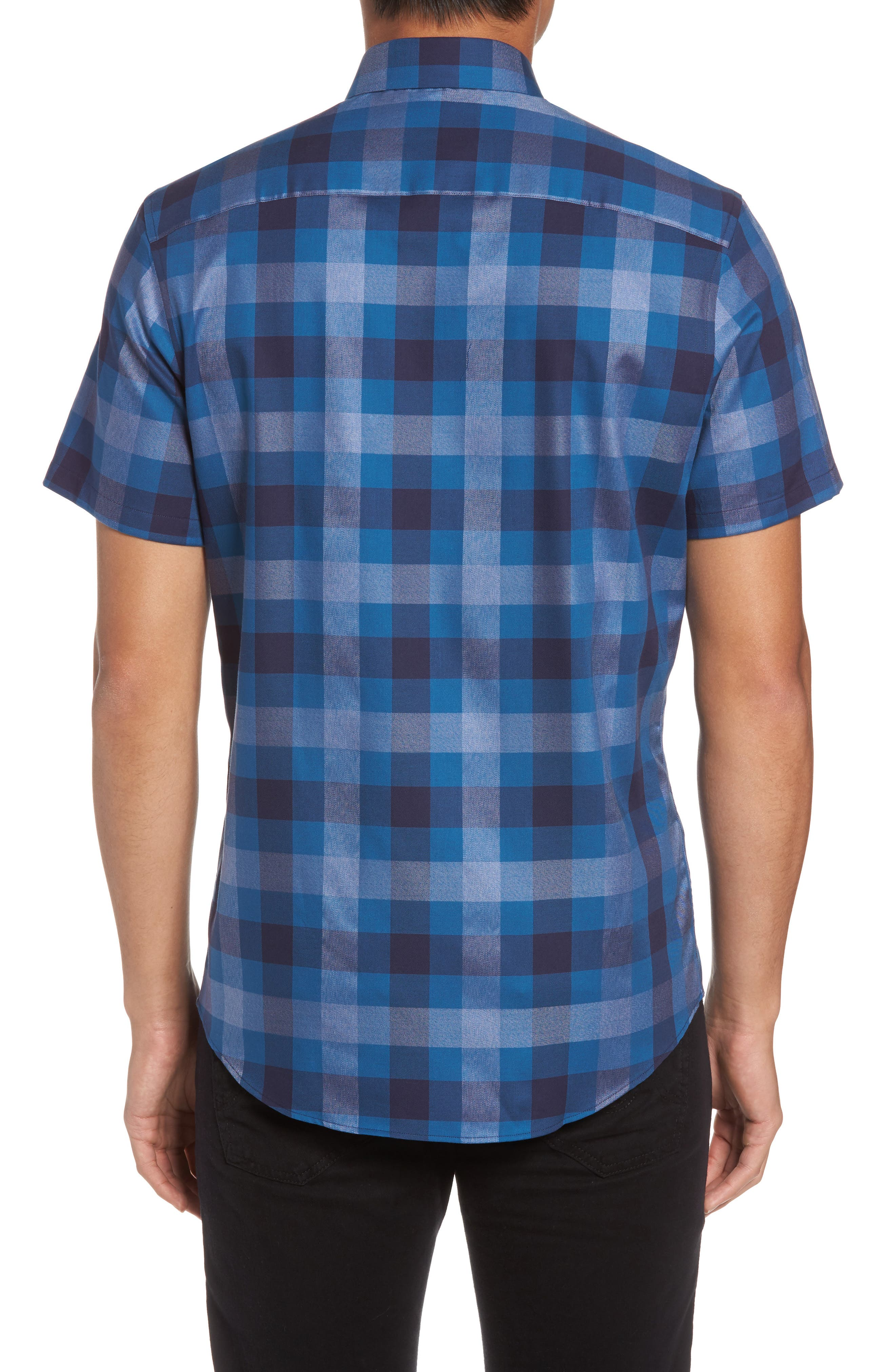 No-Iron Large Check Woven Shirt,                             Alternate thumbnail 2, color,                             Navy Dusk Heather Check