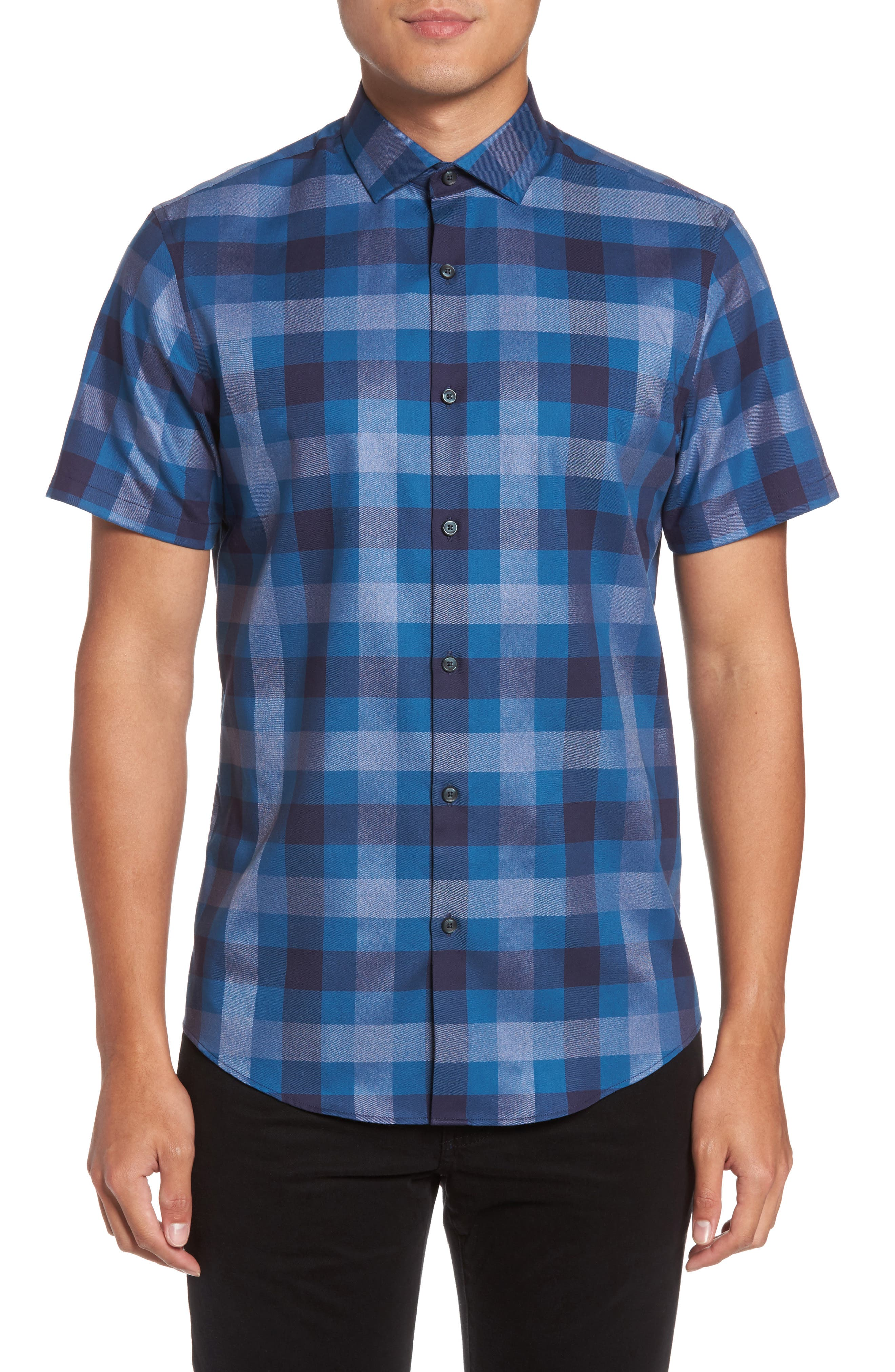 No-Iron Large Check Woven Shirt,                         Main,                         color, Navy Dusk Heather Check