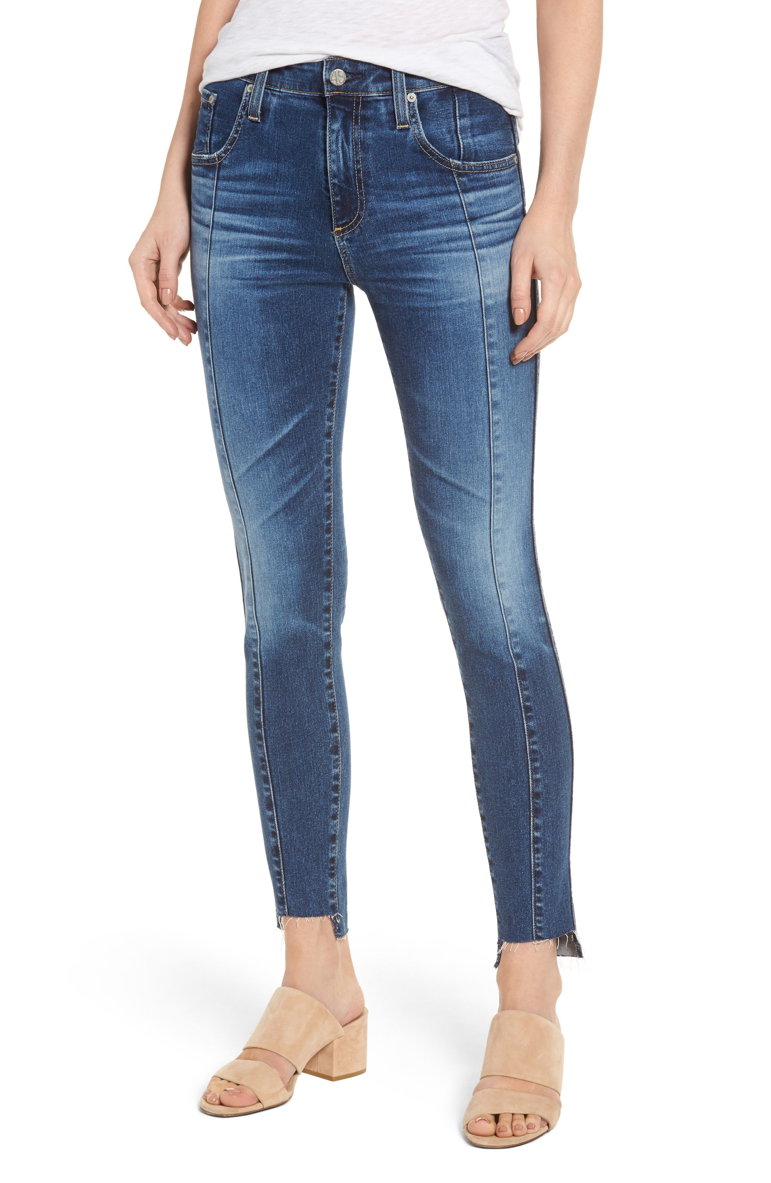 Alternate Image 1 Selected - AG The High Rise Farrah Ankle Skinny Jeans (10 Years Rhythmic Blue)