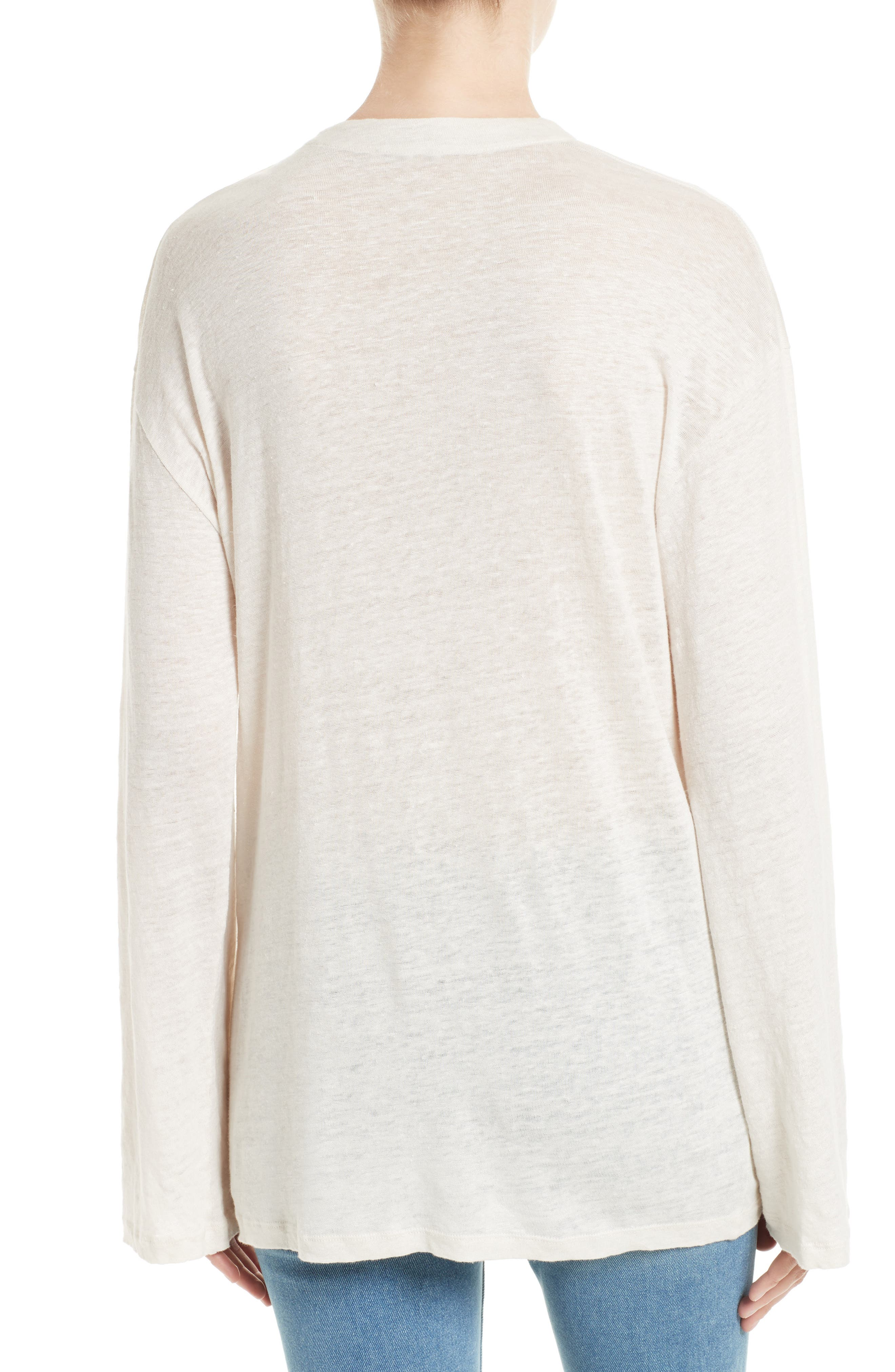 Alety Lace-Up Linen Top,                             Alternate thumbnail 2, color,                             Ivory