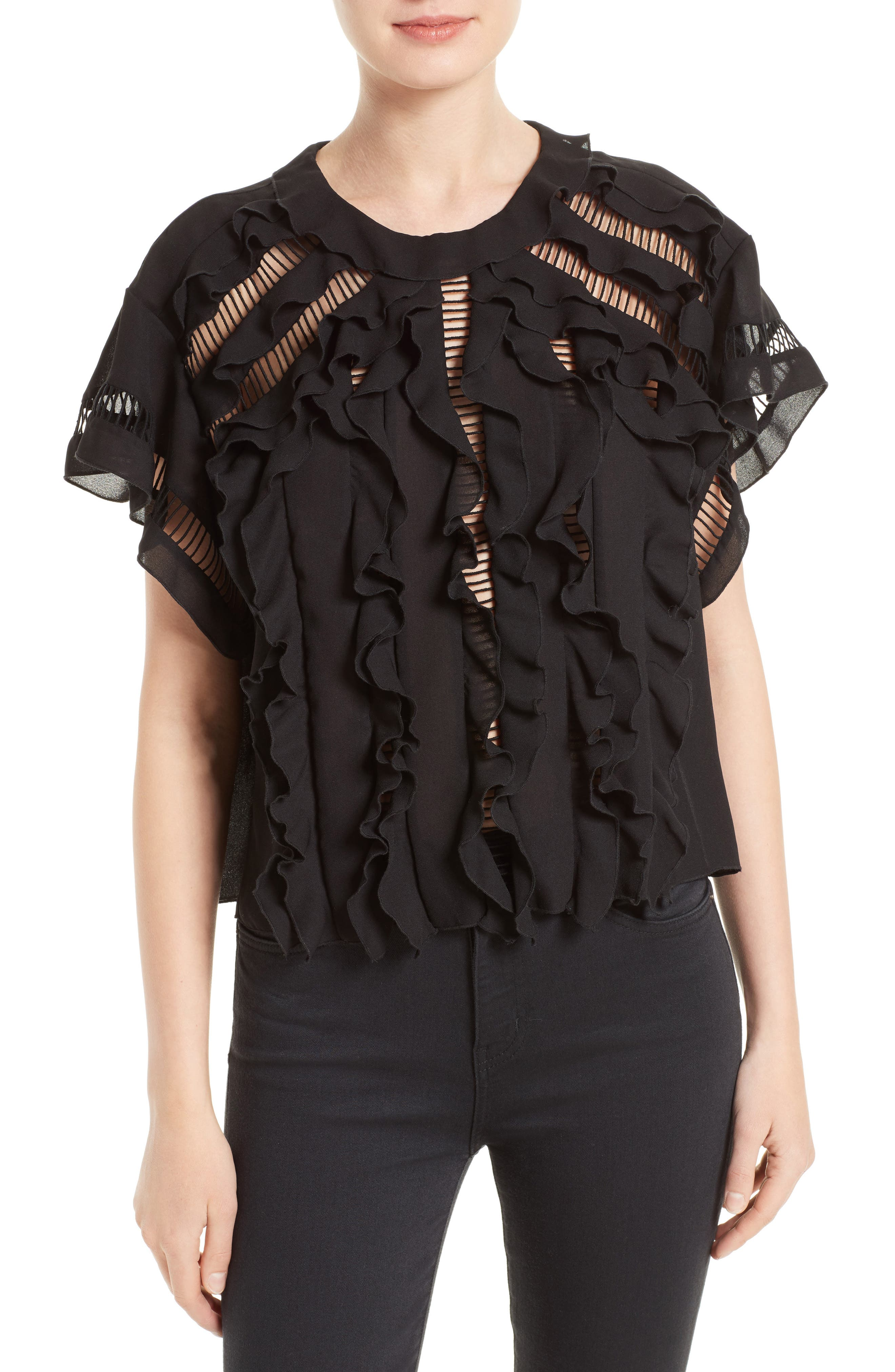 Lauder Ruffle Top,                         Main,                         color, Black