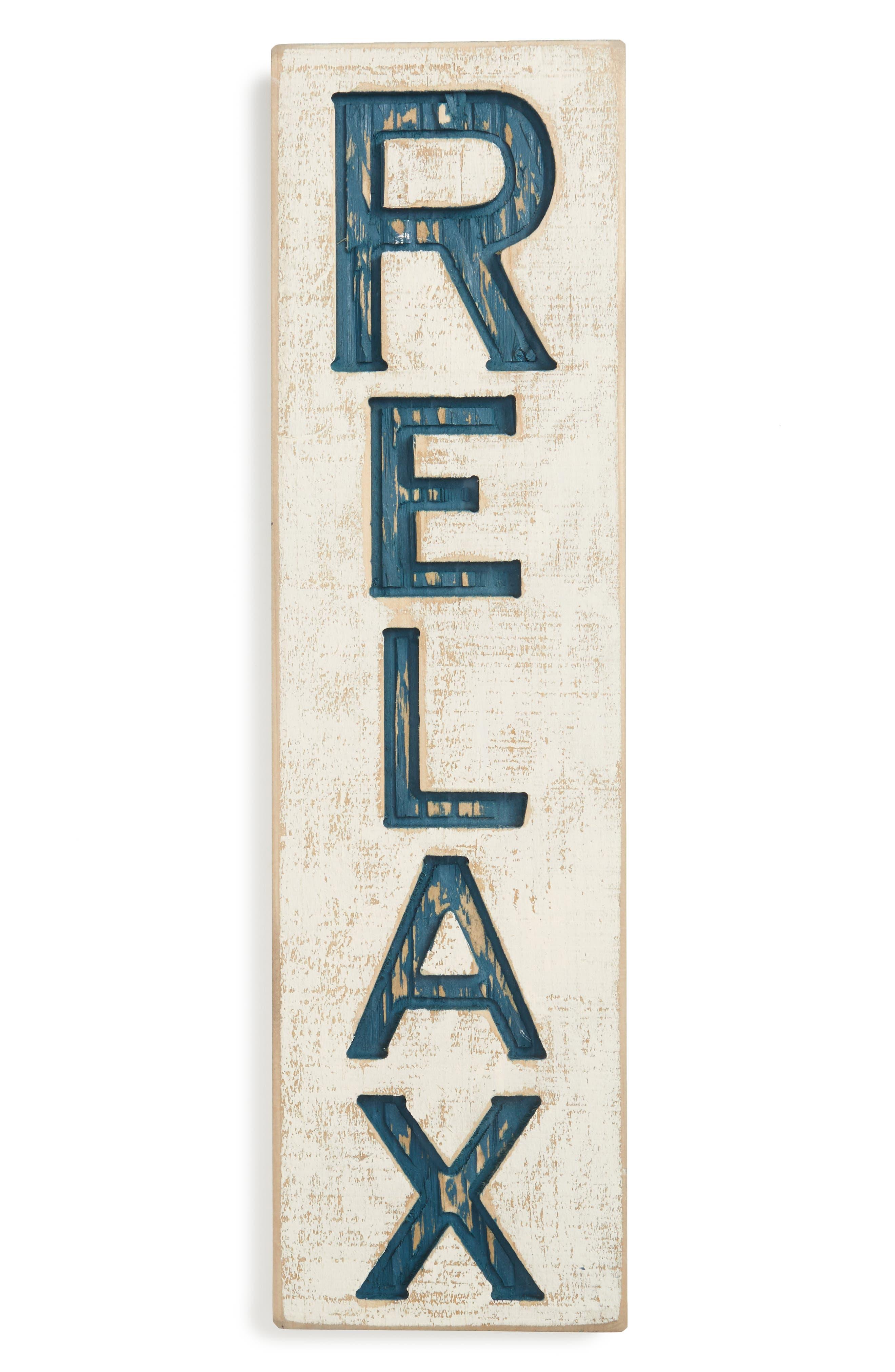 Relax Farmhouse Wall Art,                         Main,                         color, Blue