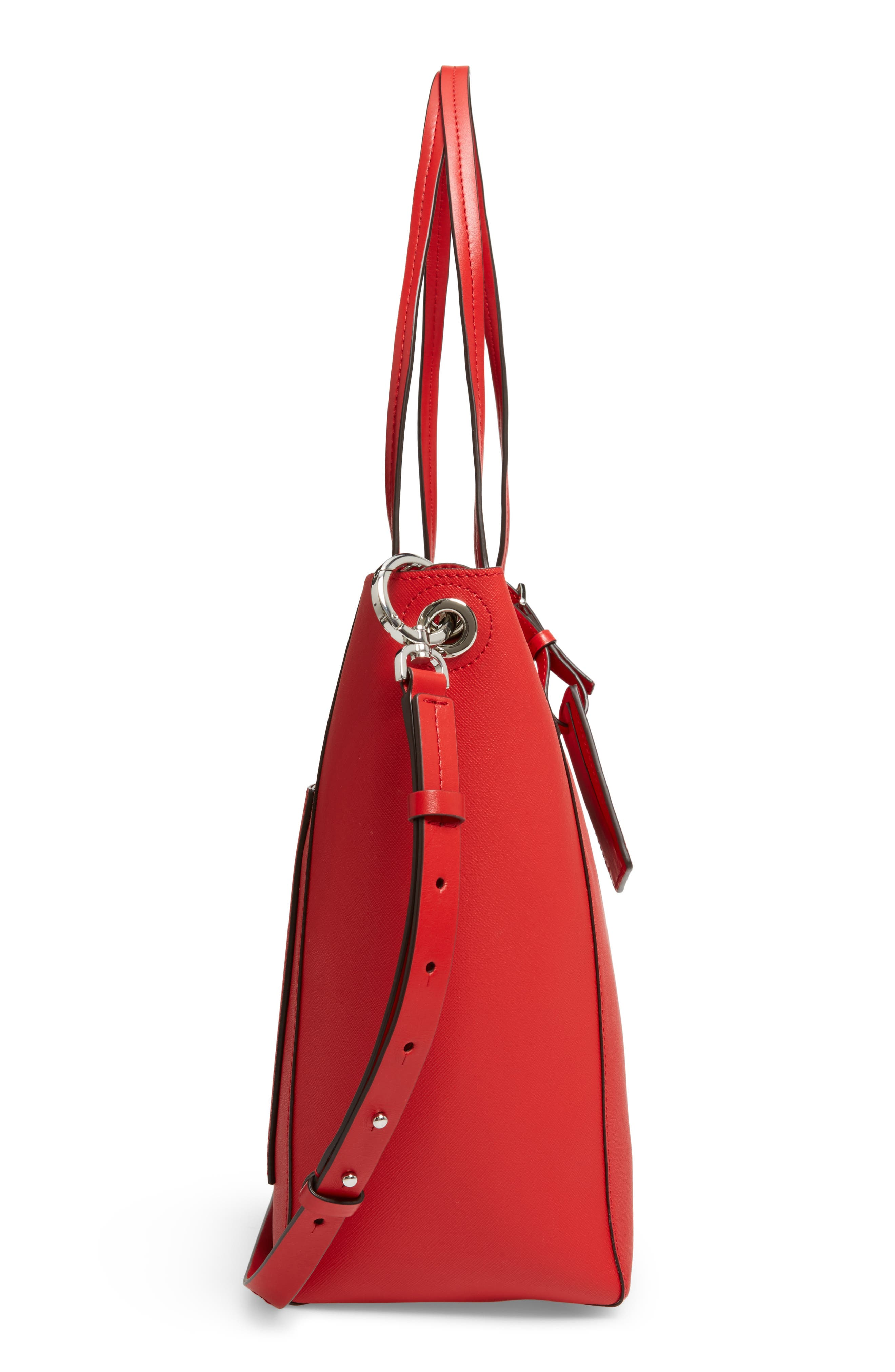 Penny Large Saffiano Convertible Leather Tote,                             Alternate thumbnail 6, color,                             Bright Red