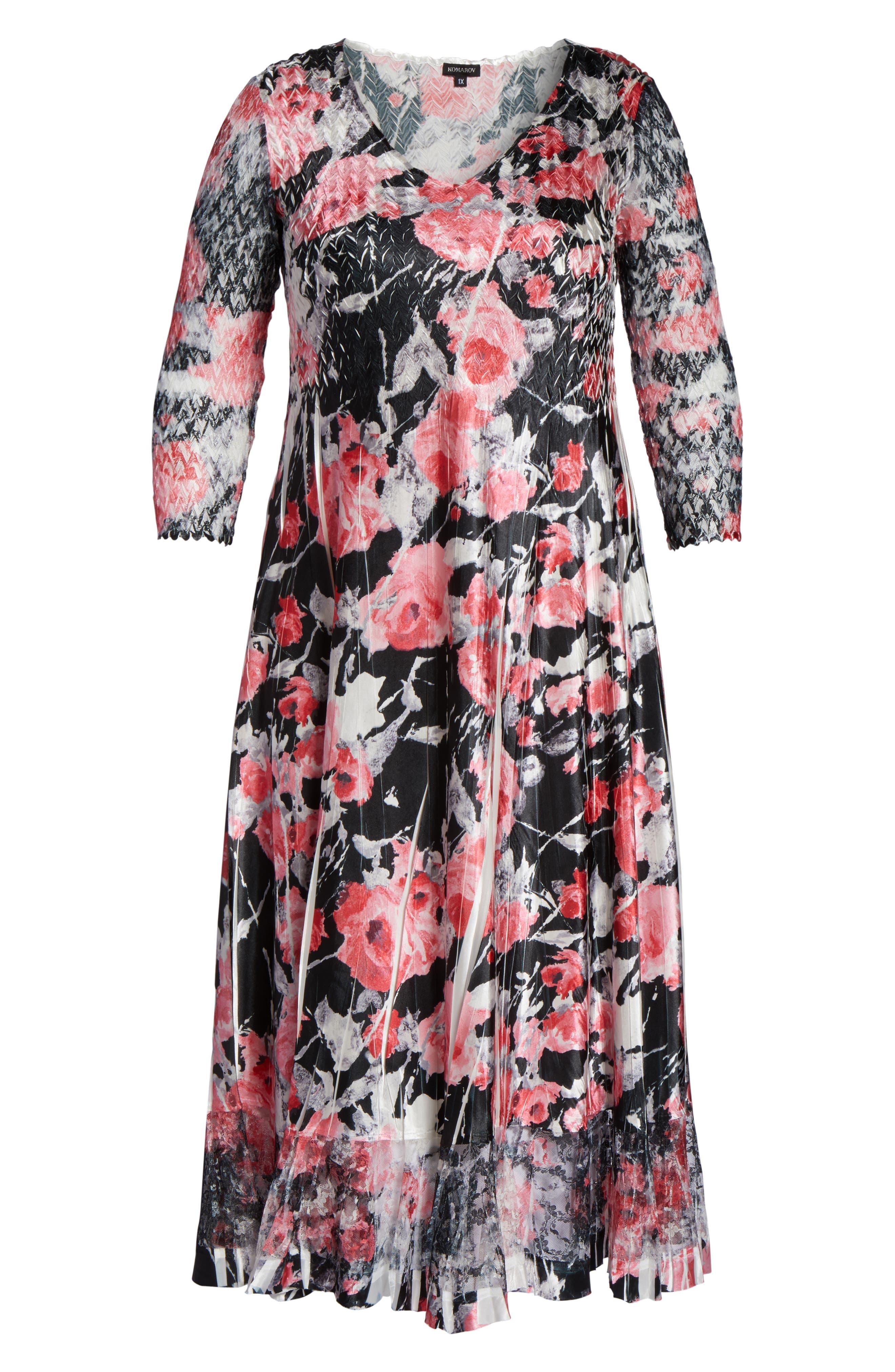 Alternate Image 6  - Komarov Print A-Line Midi Dress (Plus Size)