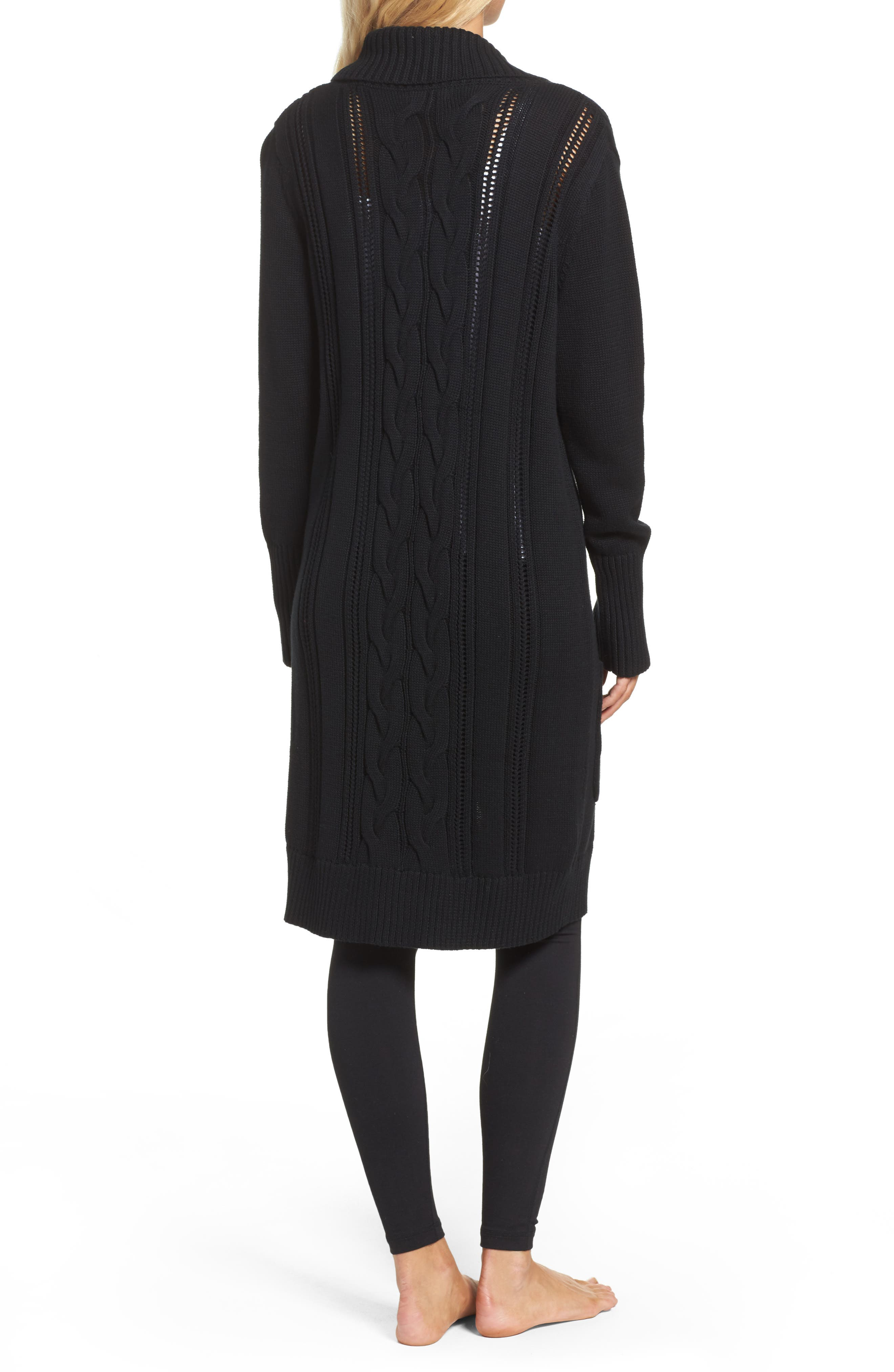 Hayley Long Cardigan,                             Alternate thumbnail 2, color,                             Black