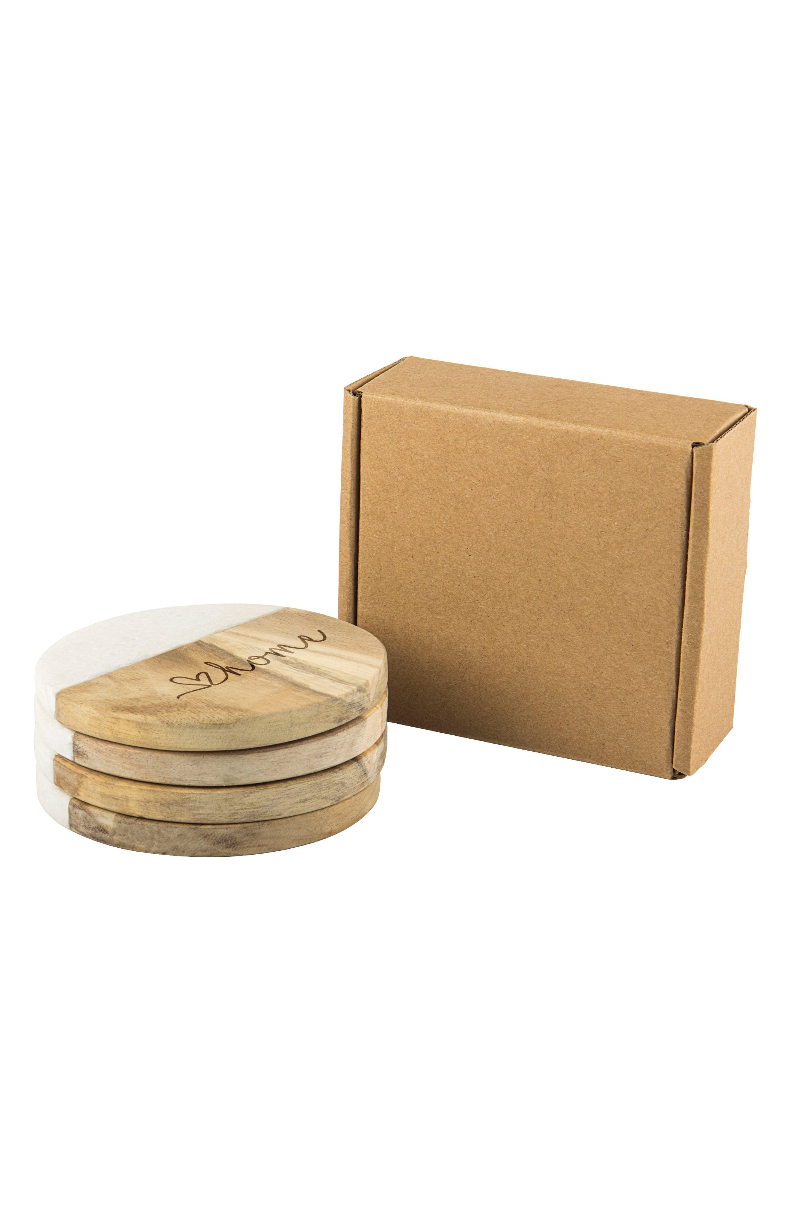 Love Home Set of 4 Marble & Acacia Wood Coasters,                             Alternate thumbnail 5, color,                             Brown