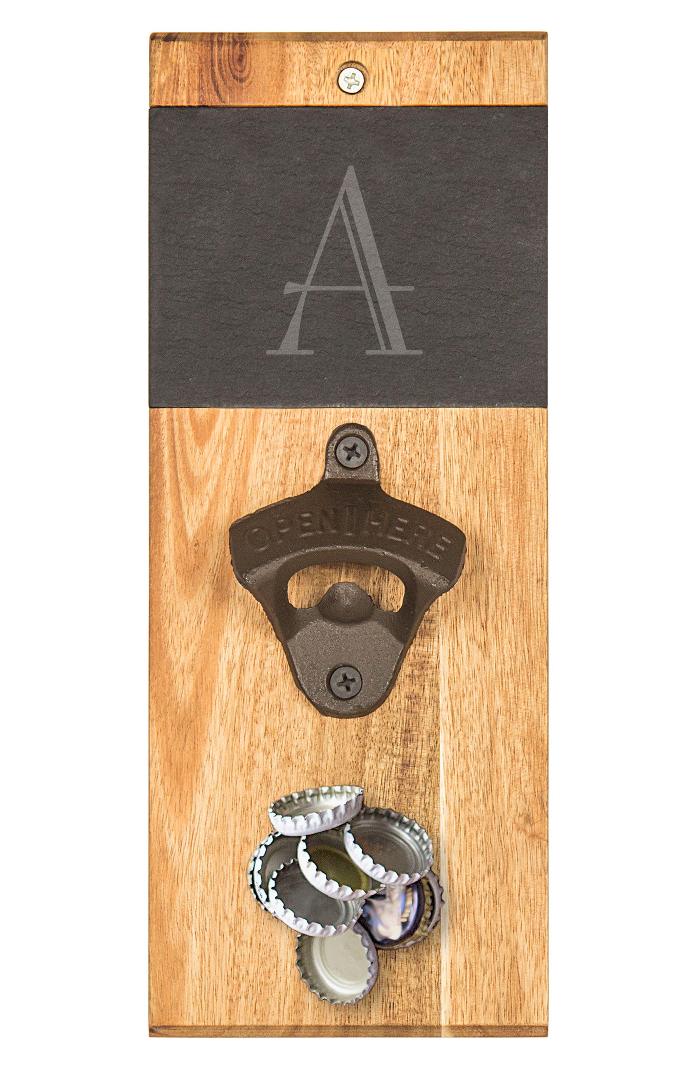 Monogram Acacia & Slate Wall Bottle Opener,                         Main,                         color, Brown - A