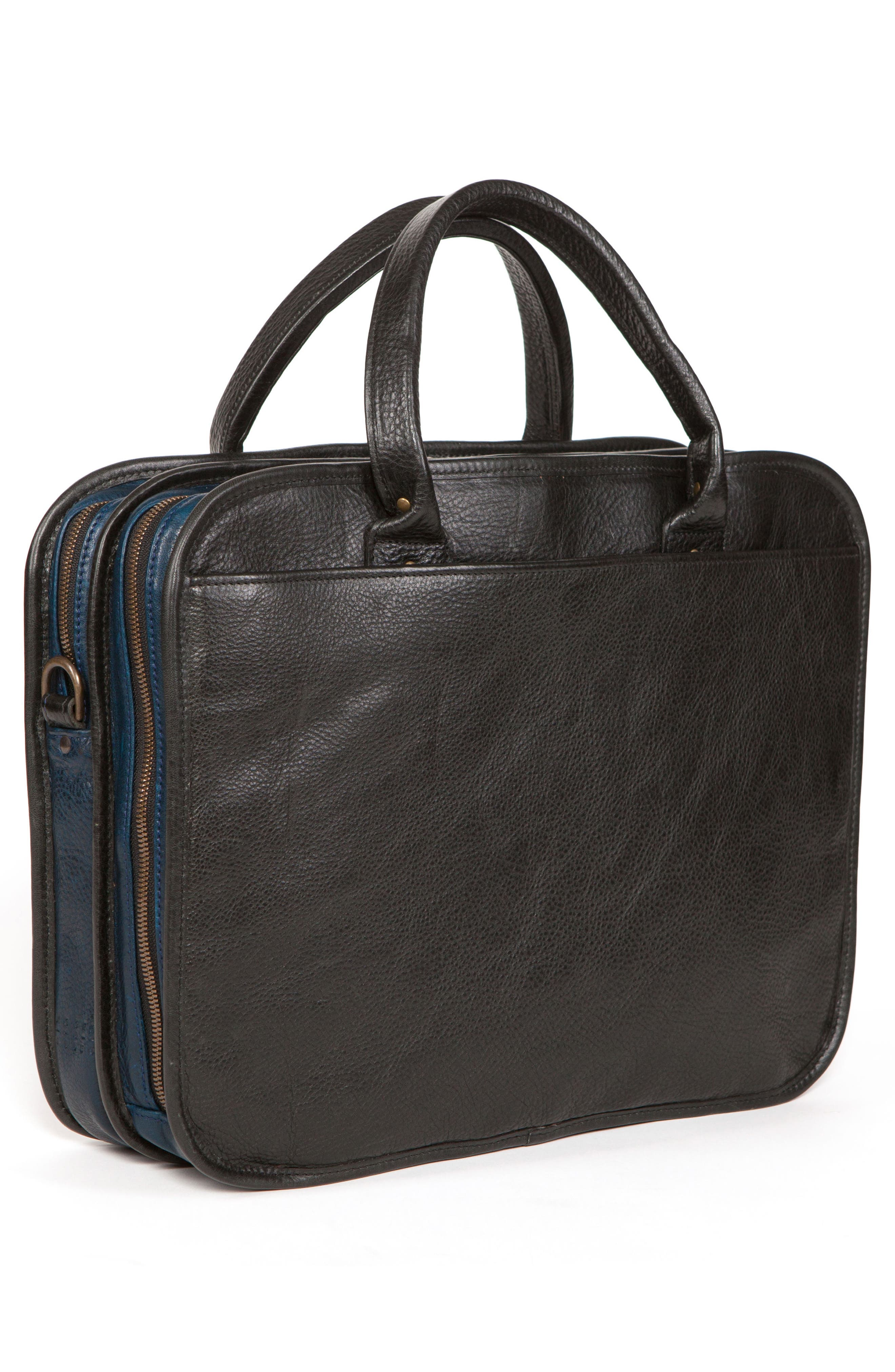 Miller Leather Briefcase,                             Alternate thumbnail 3, color,                             Titan Milled Navy And Gunmetal