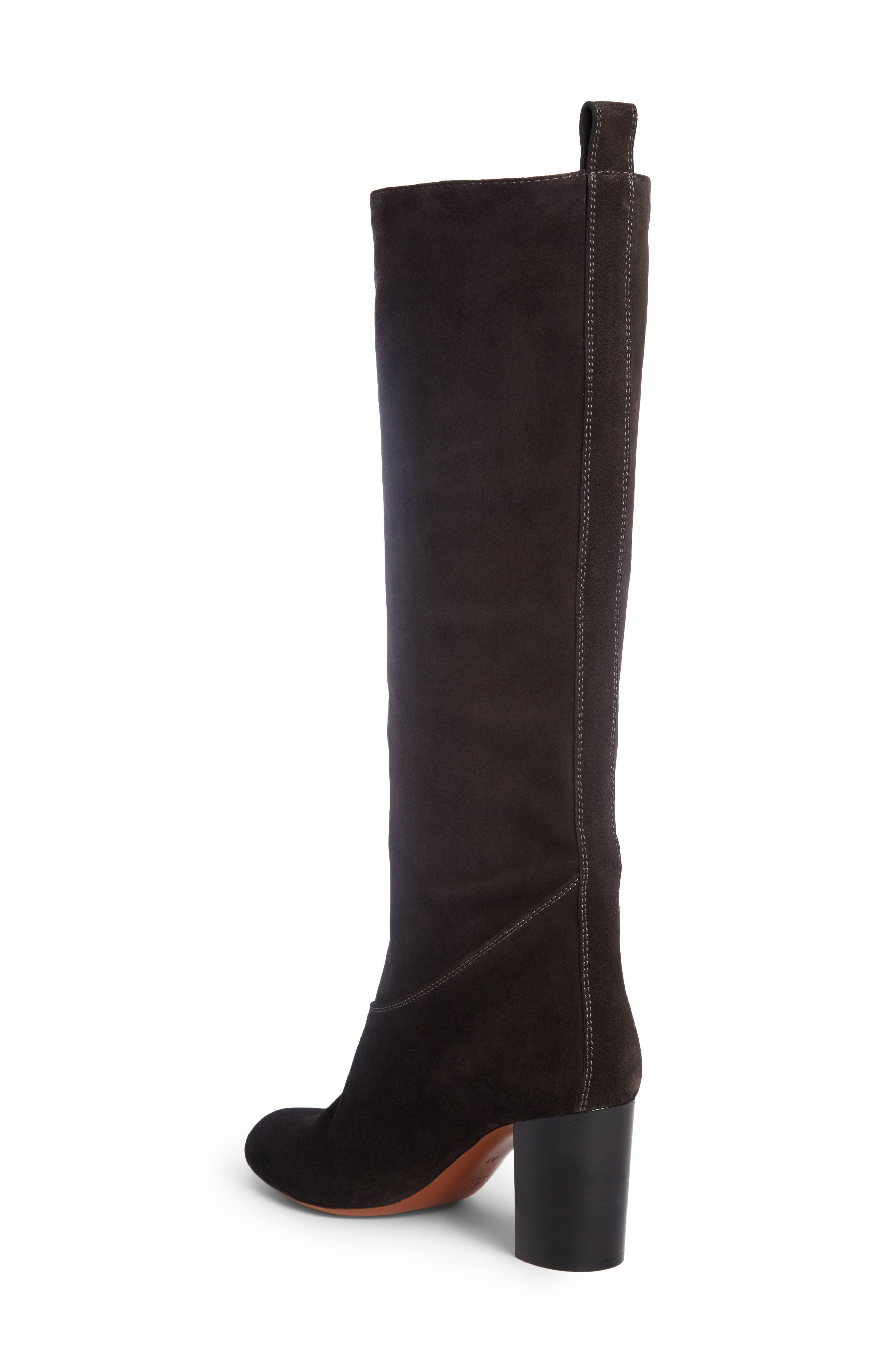 Paisley Front Zip Boot,                             Alternate thumbnail 2, color,                             Charcoal Black Suede