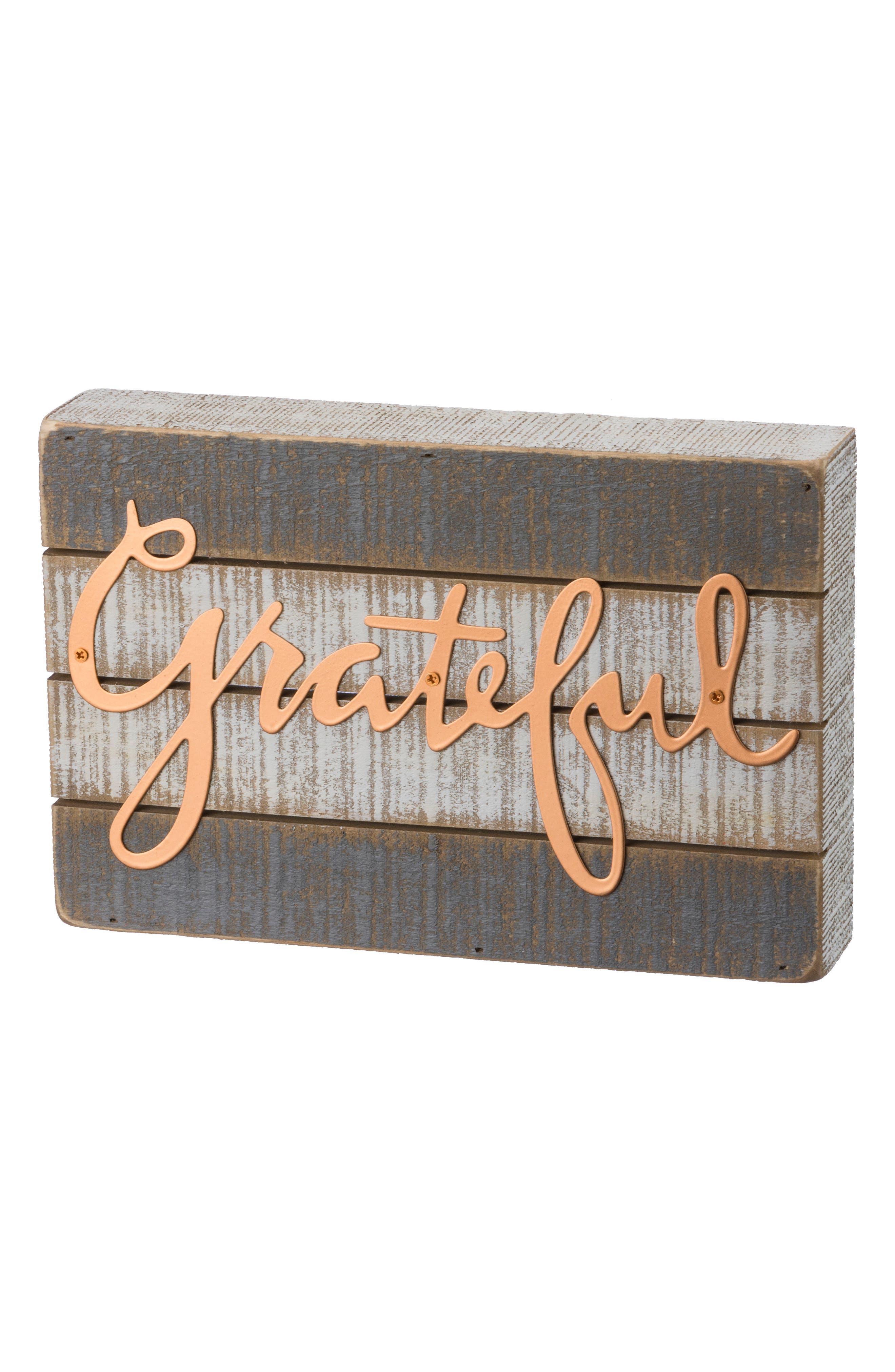 Grateful Wood Box Sign,                         Main,                         color, Grey