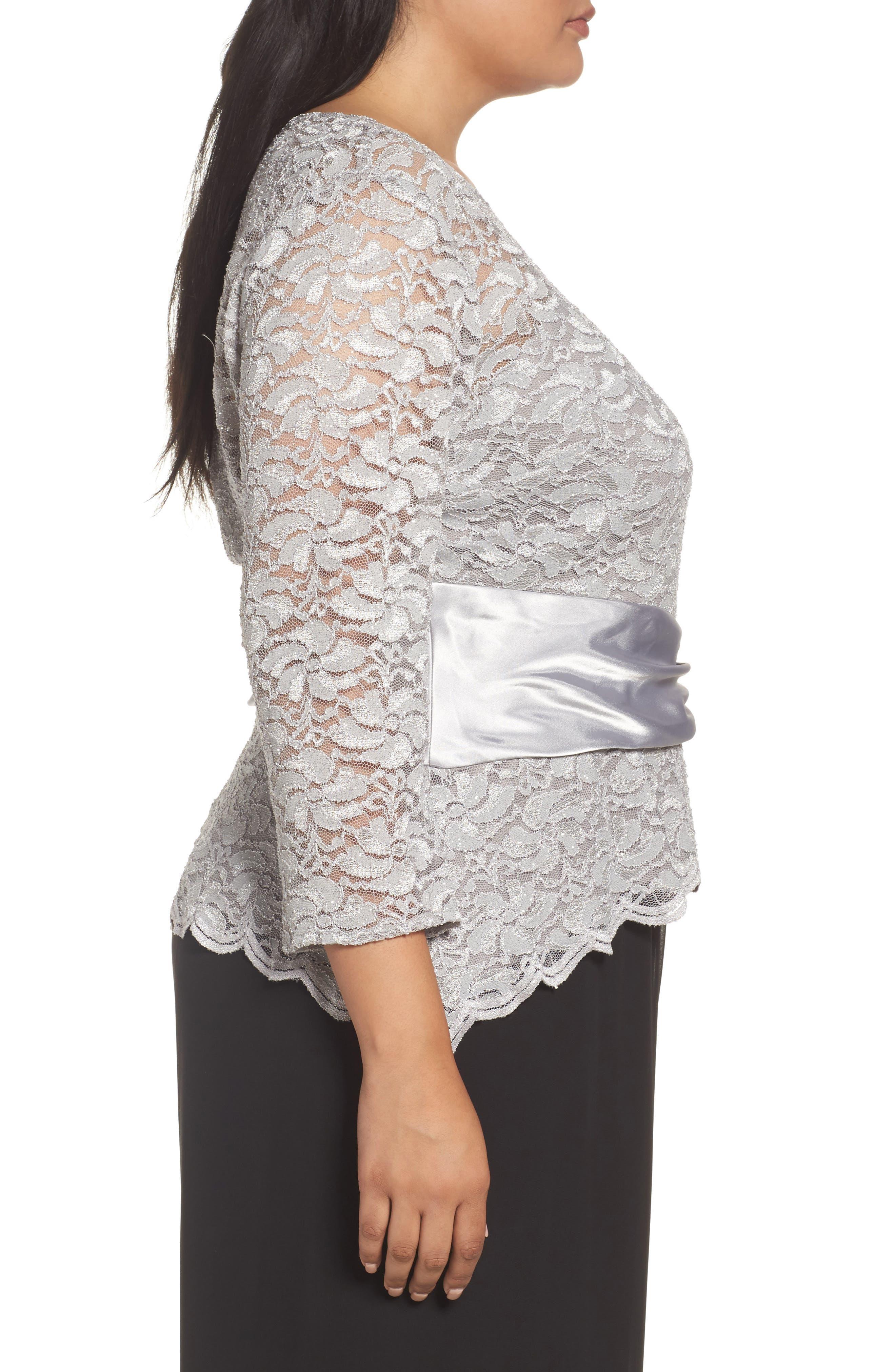 Alternate Image 3  - Alex Evenings Ruched Waist Lace Blouse (Plus Size)
