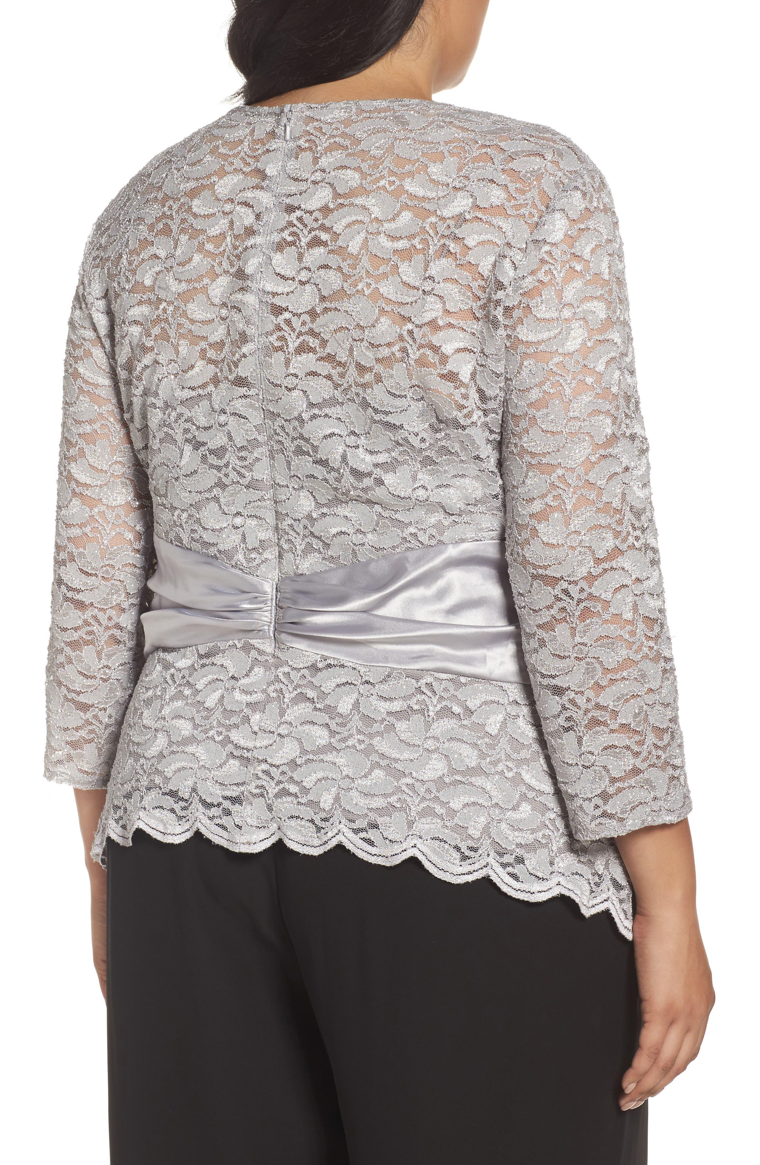 Alternate Image 2  - Alex Evenings Ruched Waist Lace Blouse (Plus Size)