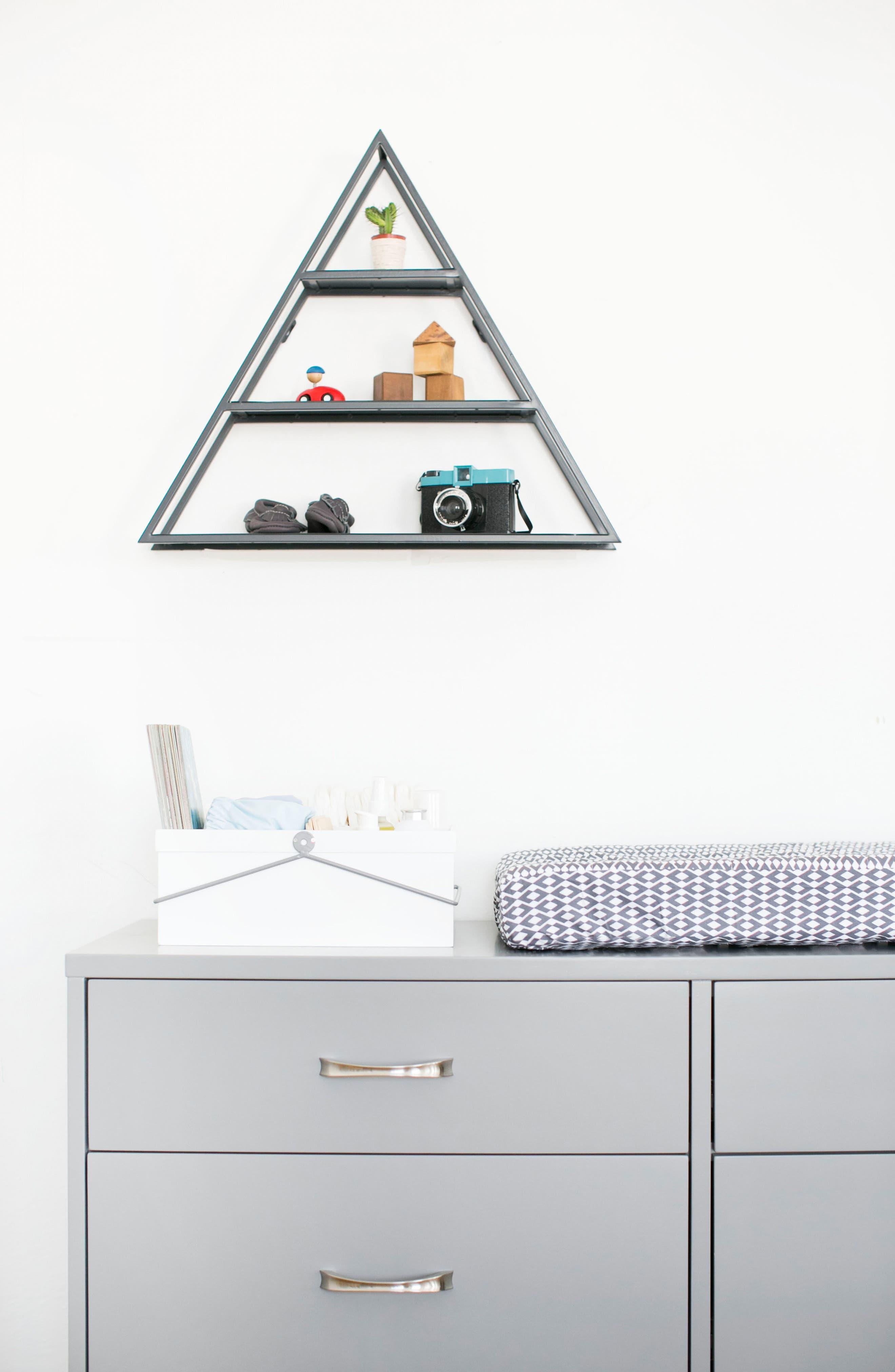 Metal Triangle Shelf,                             Alternate thumbnail 2, color,                             Smoke