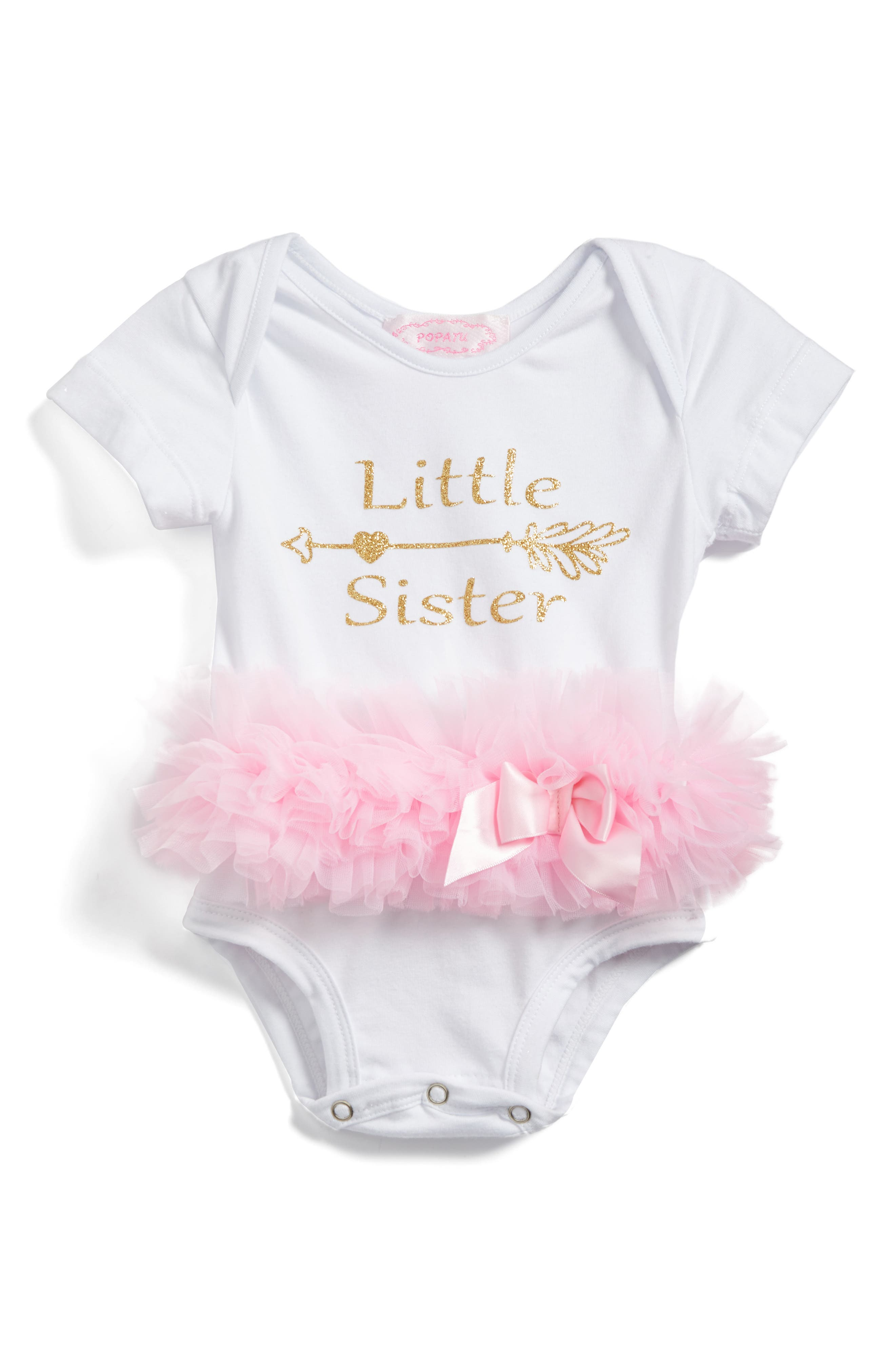 Main Image - Popatur Little Sister Skirted Bodysuit (Baby Girls)