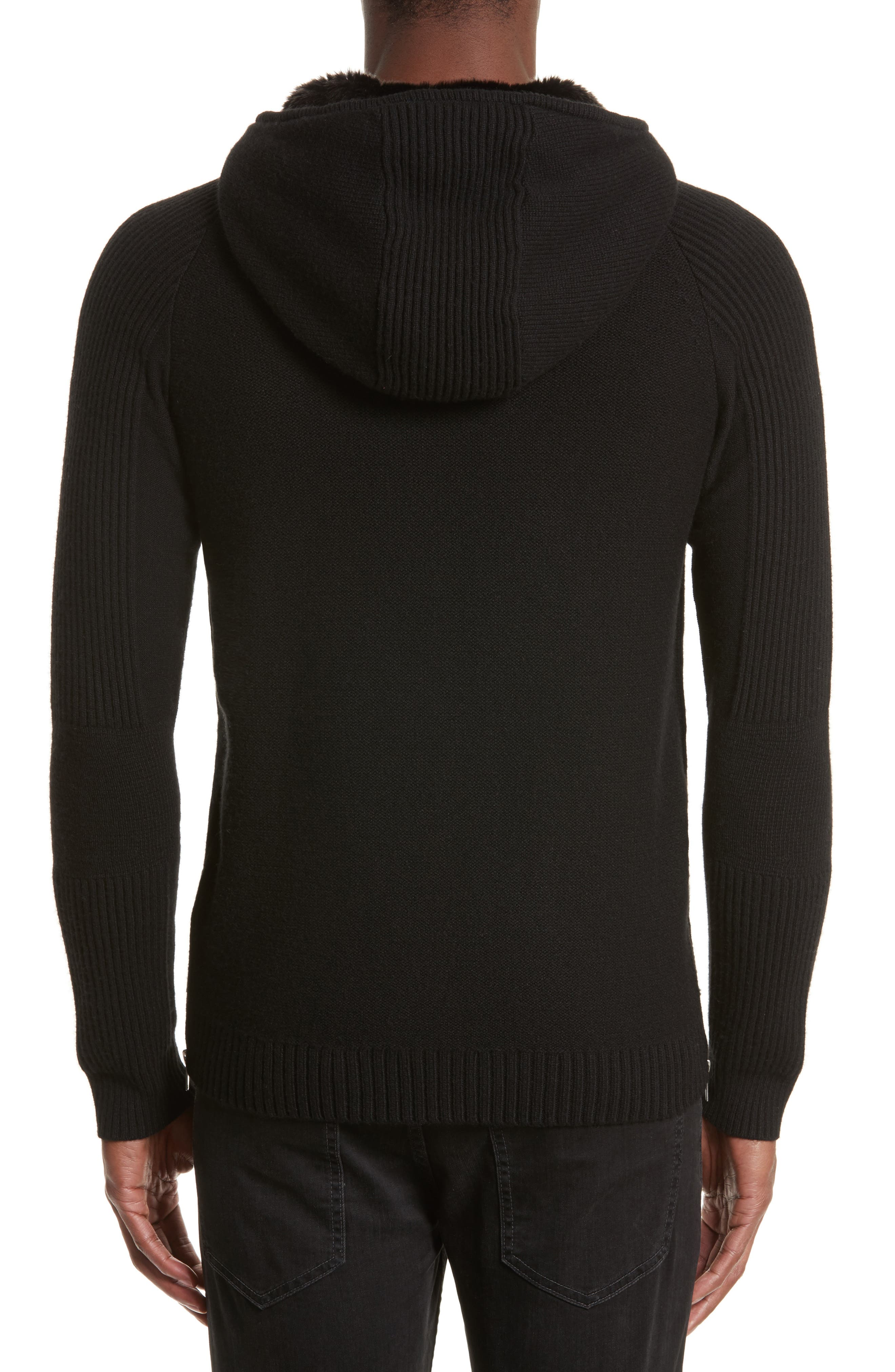 Knit Zip Hoodie with Faux Fur Trim,                             Alternate thumbnail 2, color,                             Bla01