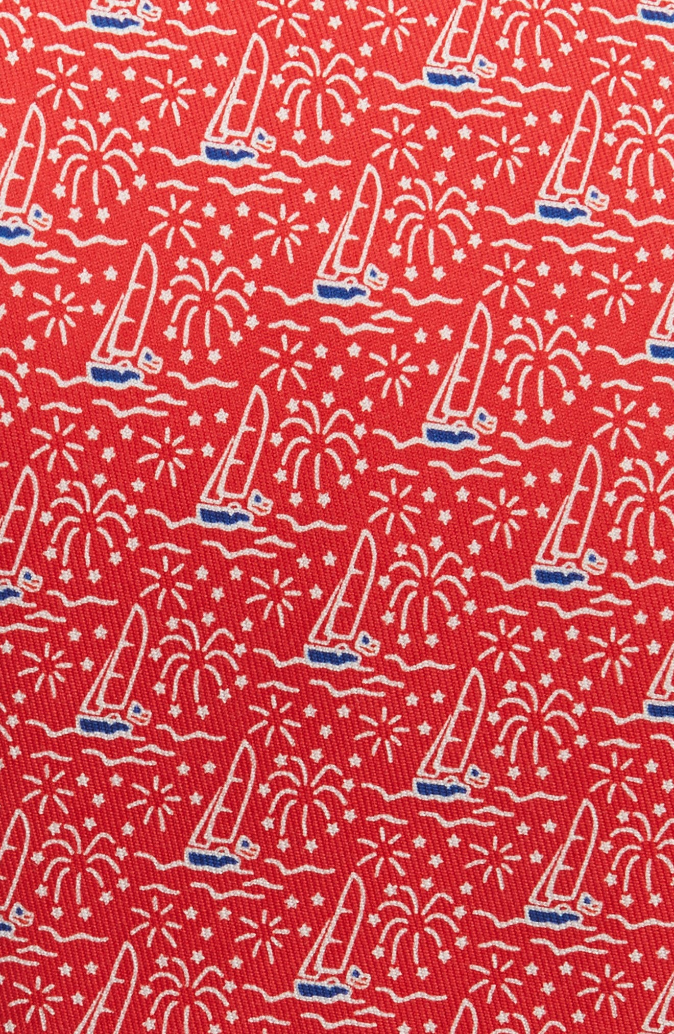 Sailing Silk Tie,                             Alternate thumbnail 2, color,                             Red