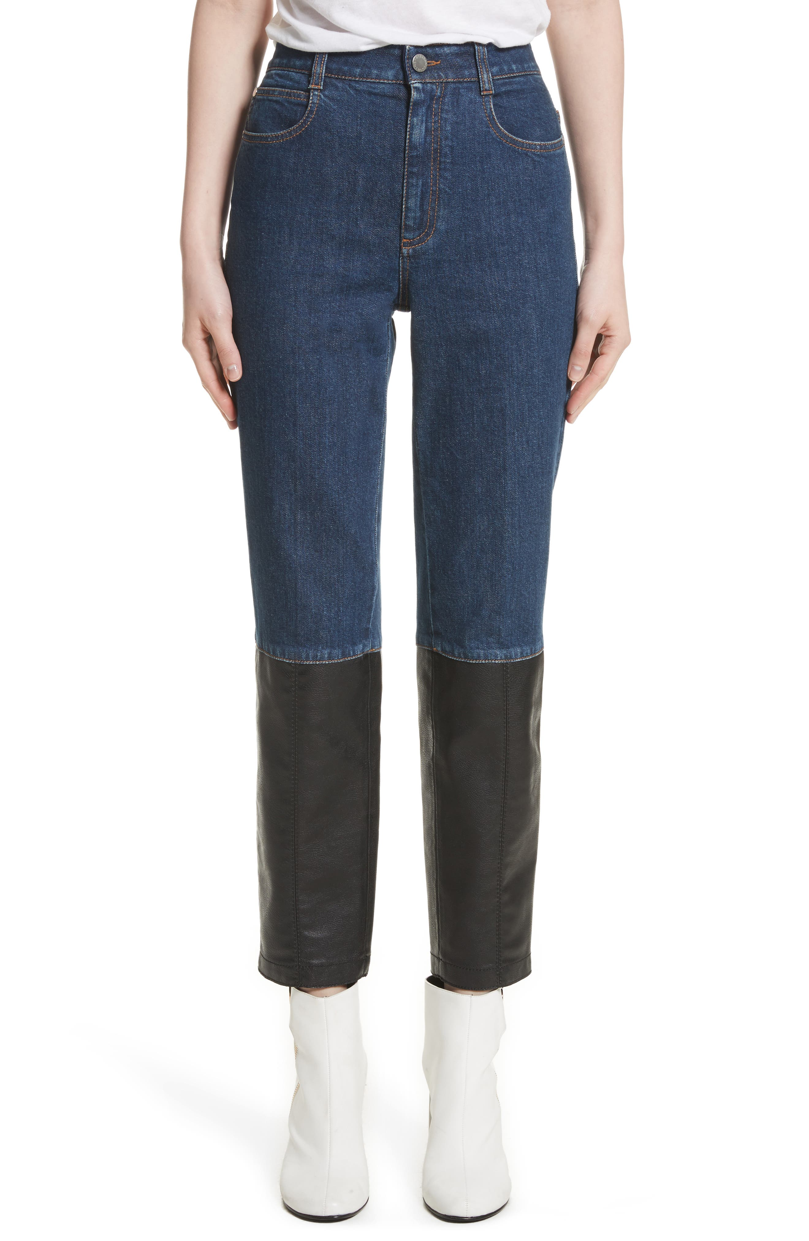 Alter Leather Trim High Waist Straight Leg Jeans,                         Main,                         color, Blue Jeans