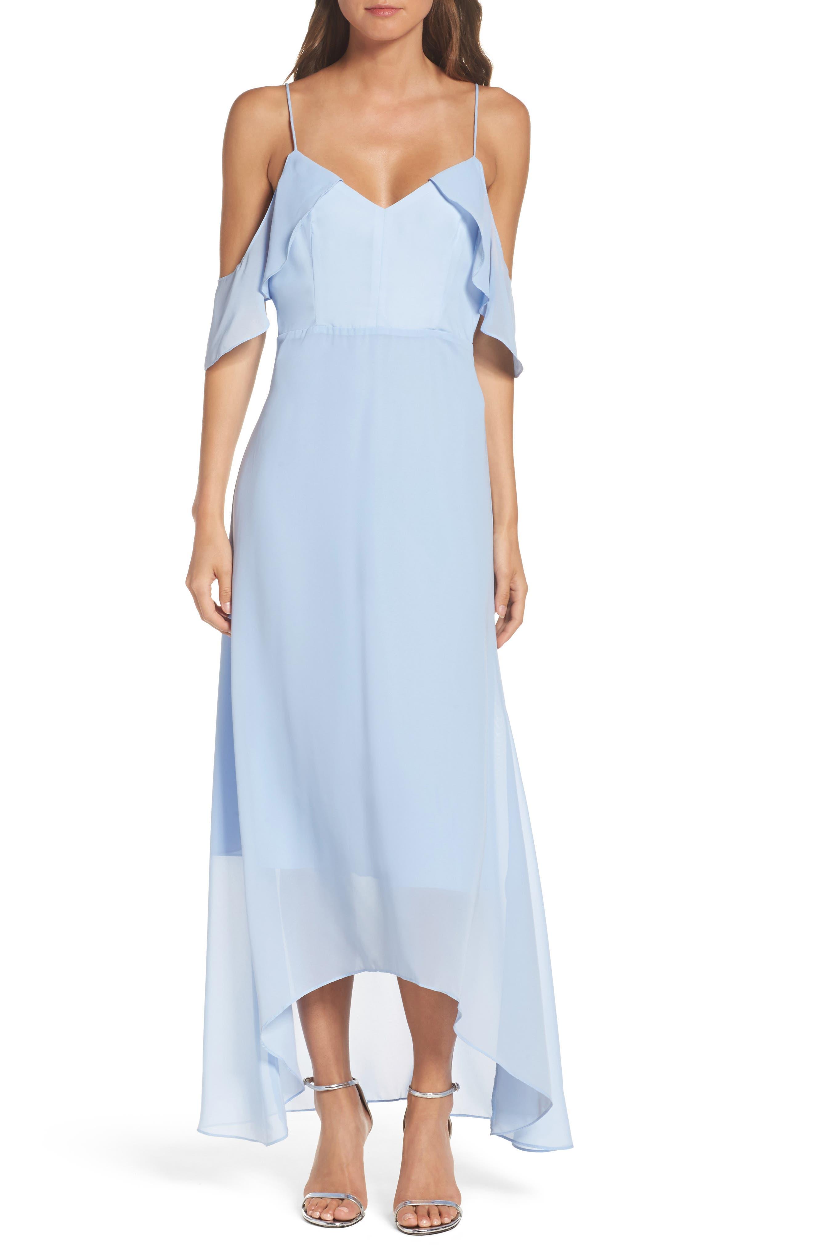 Cold Shoulder Maxi Dress,                         Main,                         color, Light Blue