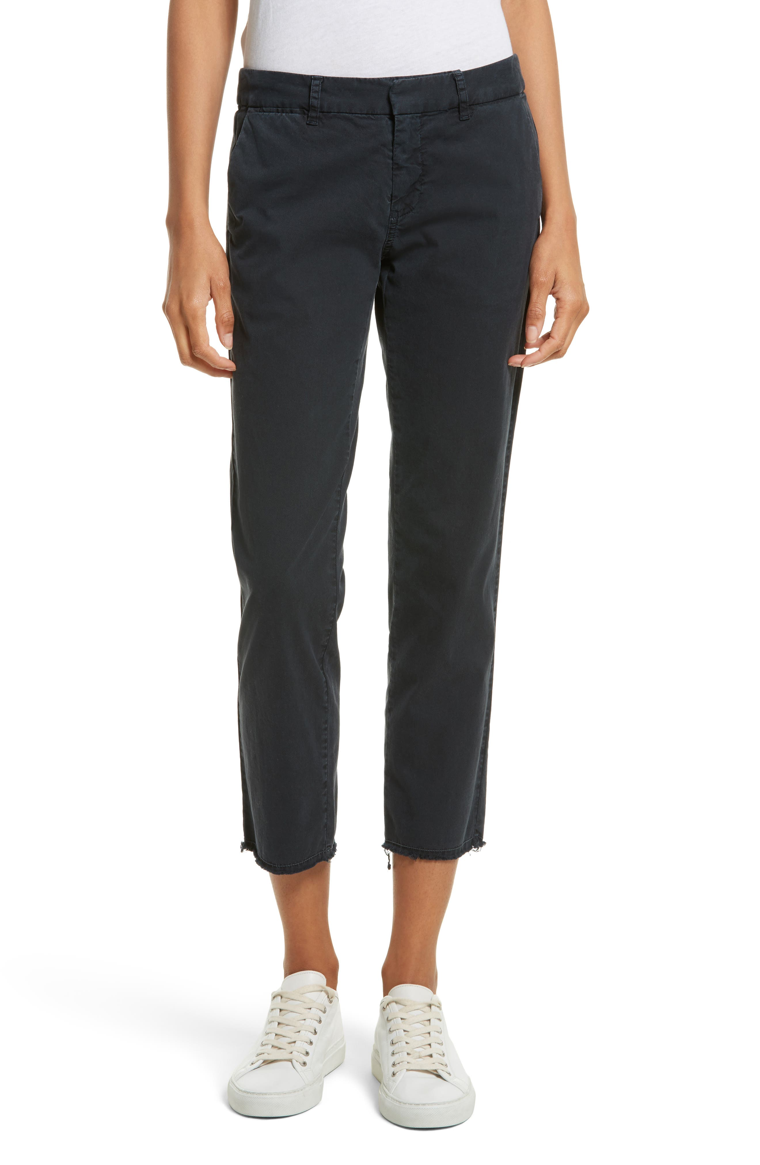 East Hampton Stretch Cotton Twill Crop Pants,                         Main,                         color, Dark Navy