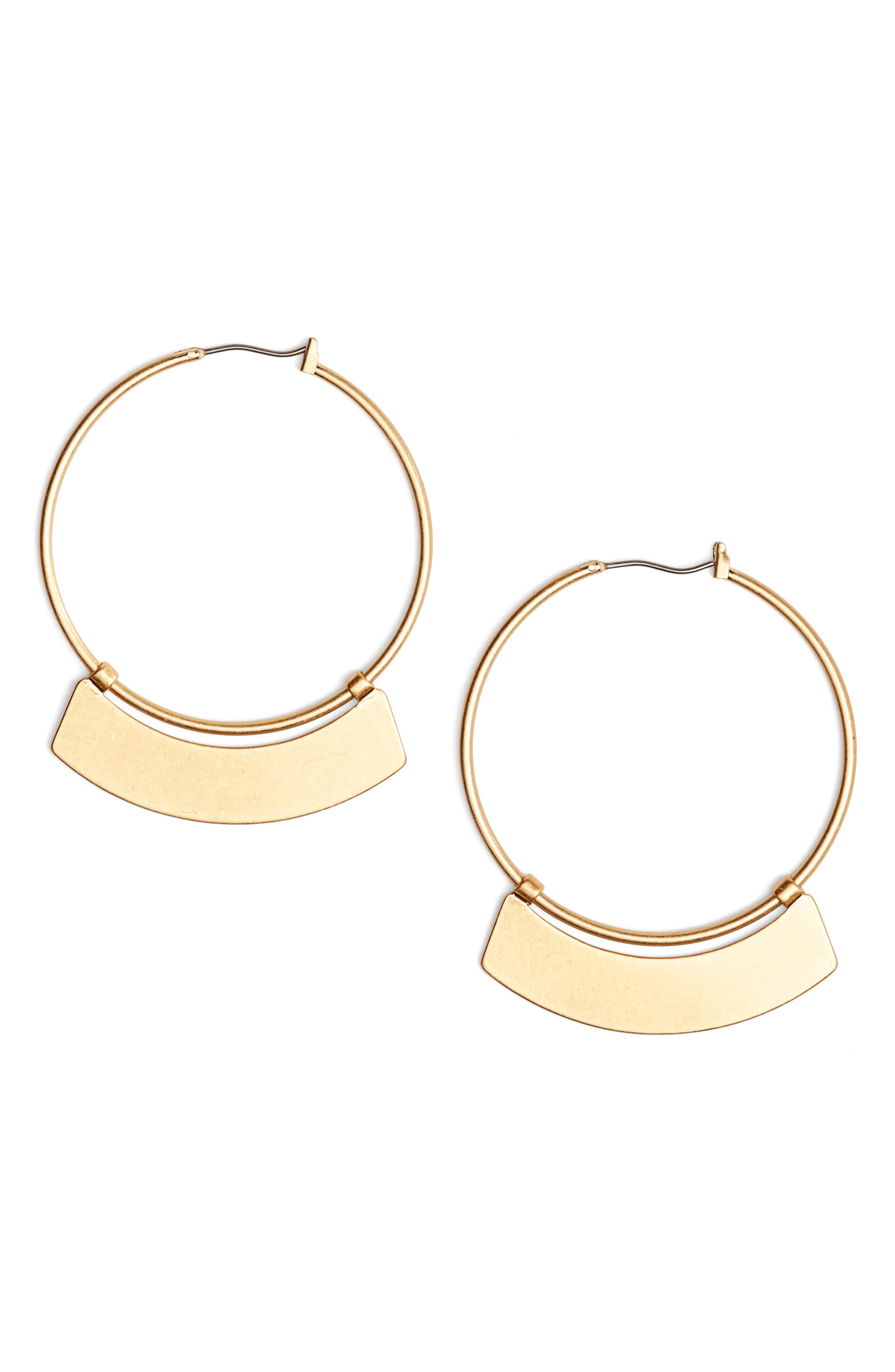 Crescent Hoop Earrings,                         Main,                         color, Light Worn Gold
