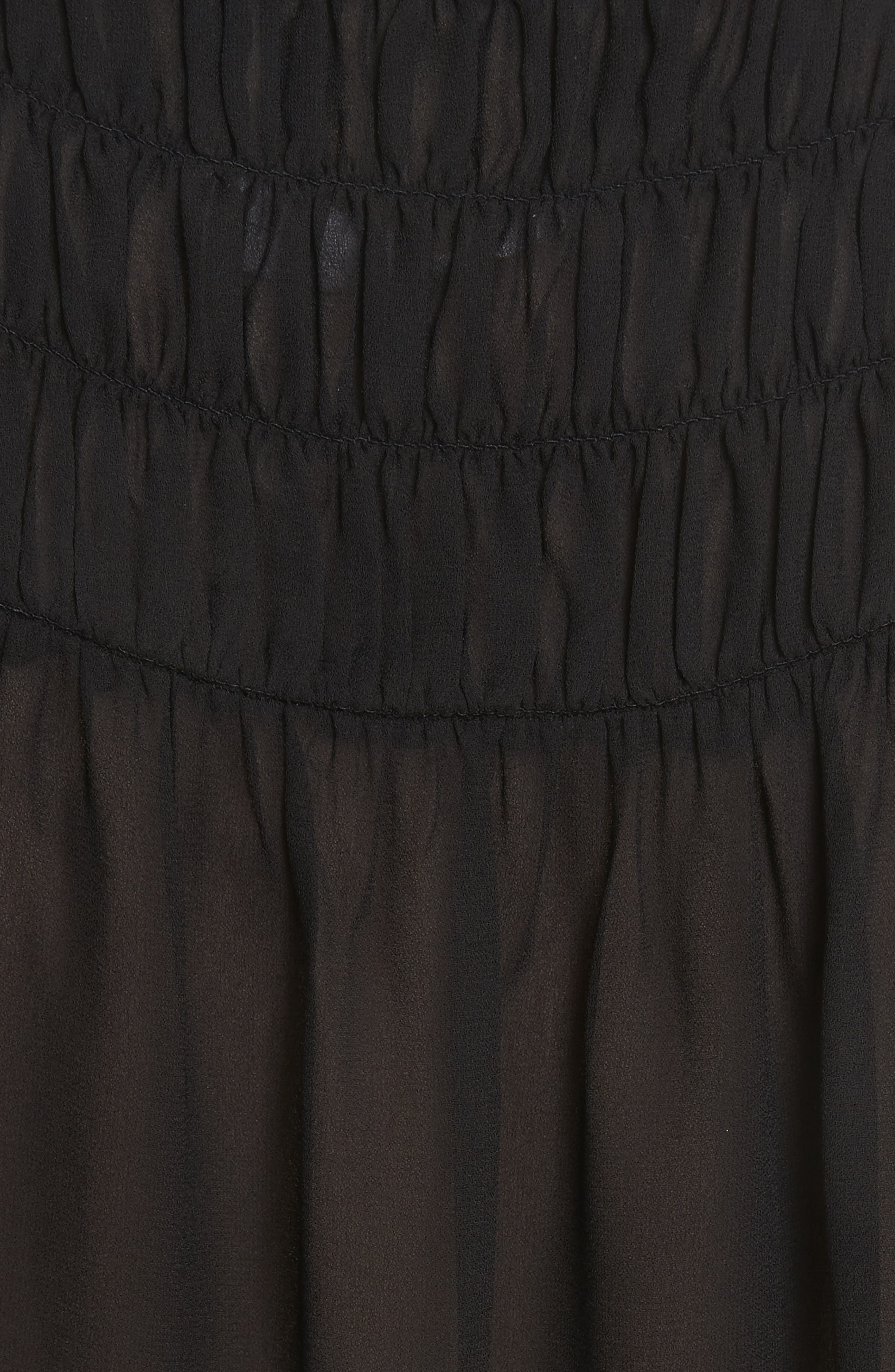Smocked Blouse,                             Alternate thumbnail 6, color,                             Noir