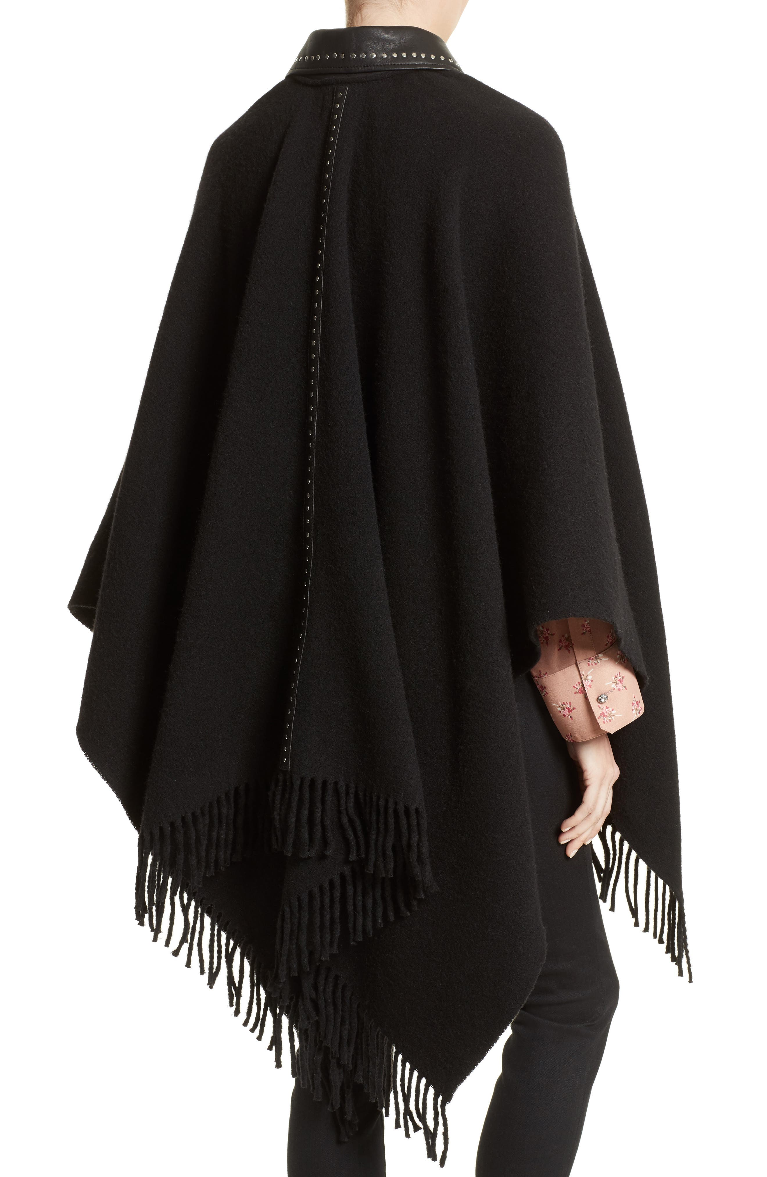 Leather Collar Wool Blend Poncho,                             Alternate thumbnail 2, color,                             Black